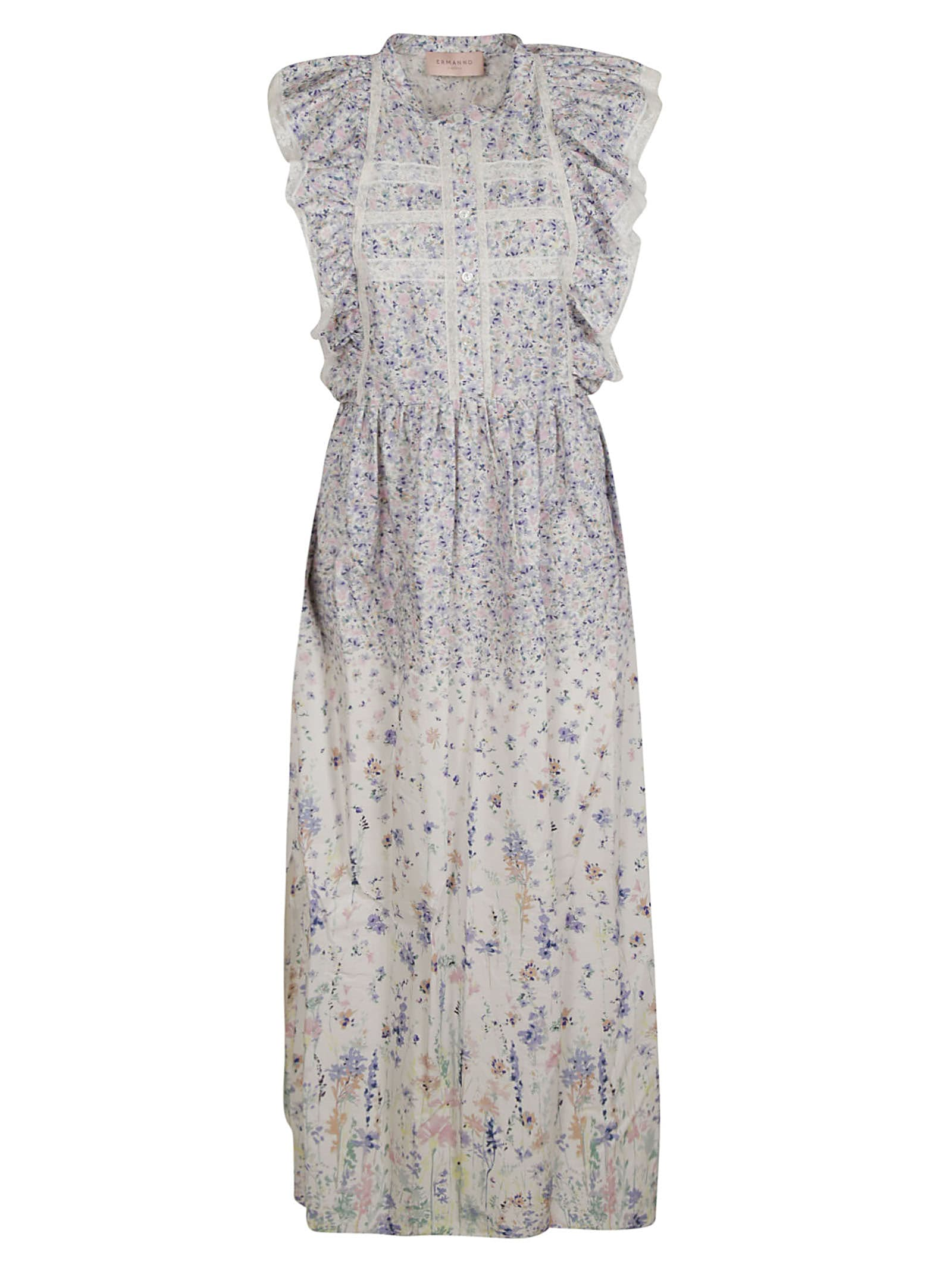 Ermanno Scervino Ruffle Sided Floral Dress