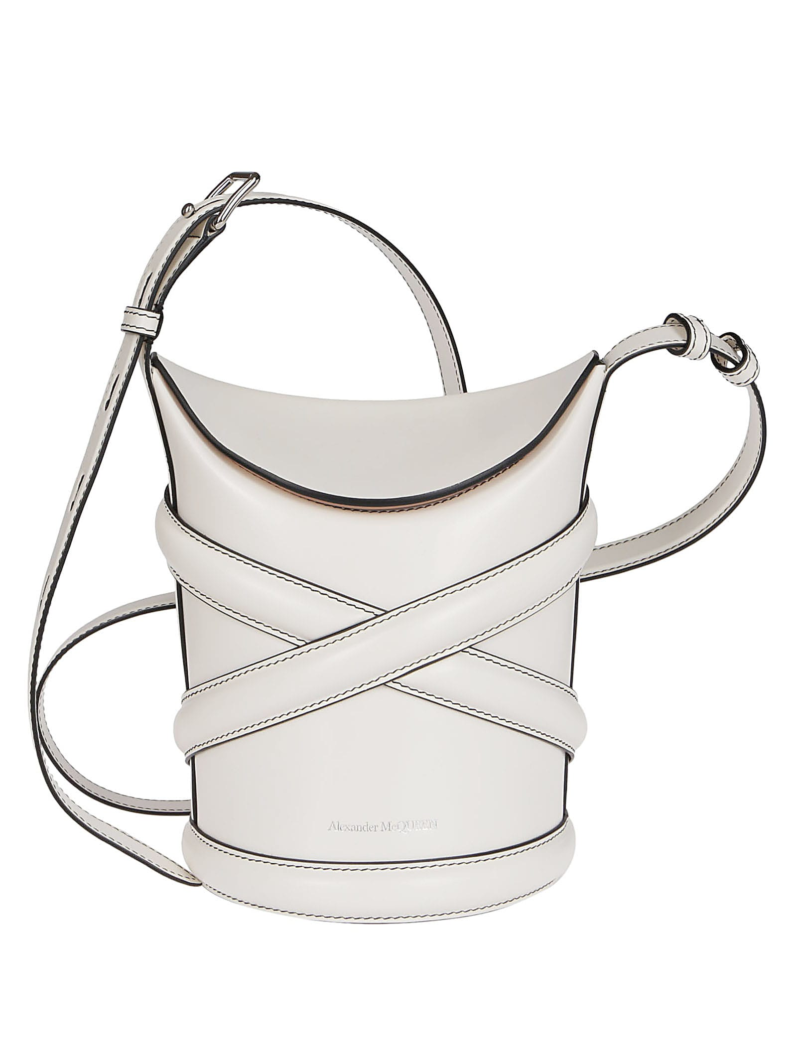 Alexander Mcqueen Leathers WHITE LEATHER THE CURVE BUCKET BAG
