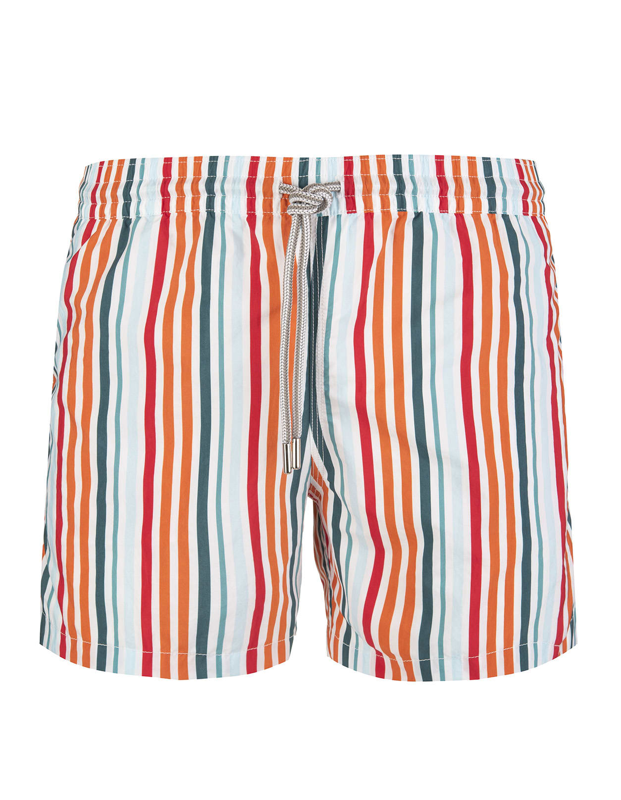 Swimsuit With Orange And Green Shades Stripes