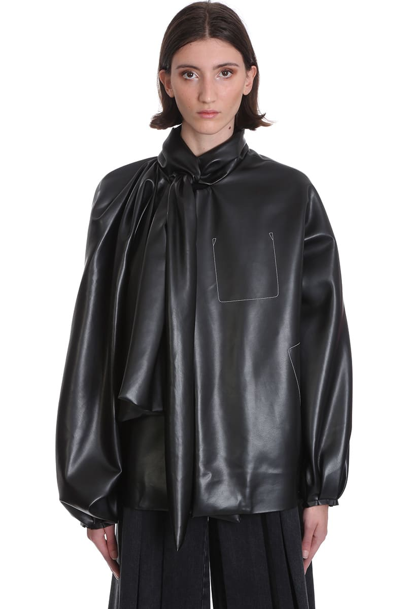 Maison Margiela CASUAL JACKET IN BLACK FAUX LEATHER