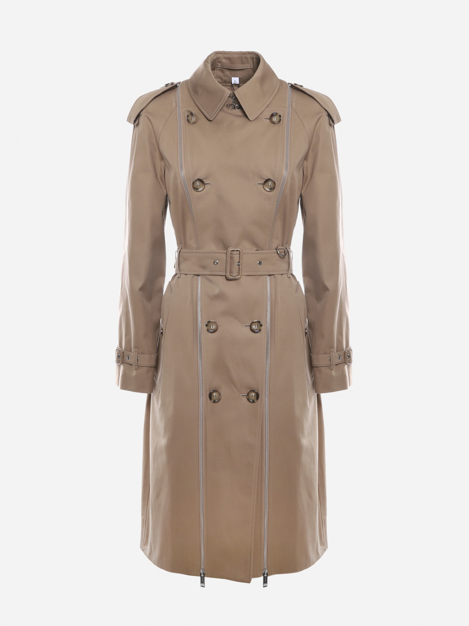 Burberry Cotton Trench Coat With Vintage Check Inserts