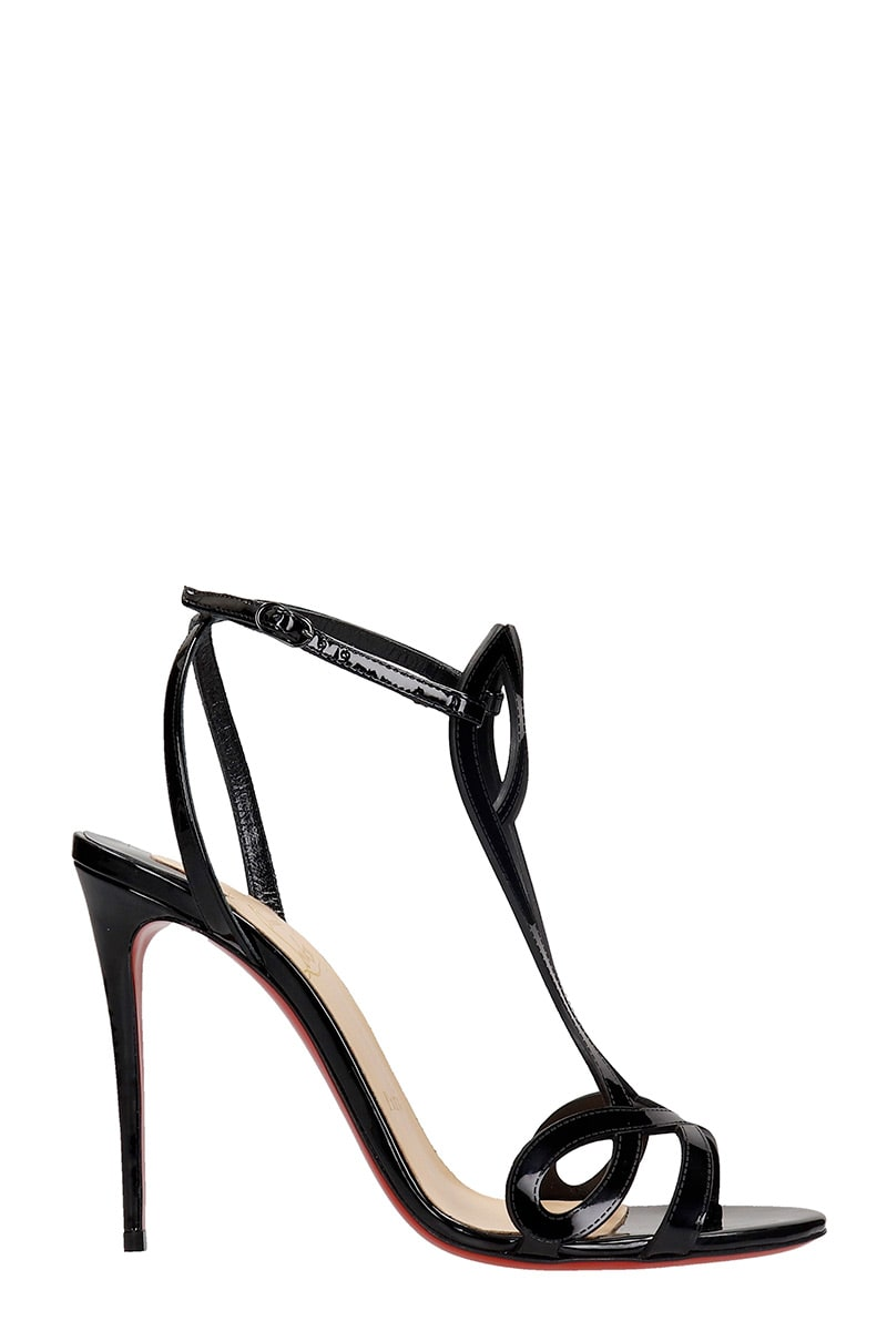 Buy Christian Louboutin Double L Sandals In Black Patent Leather online, shop Christian Louboutin shoes with free shipping