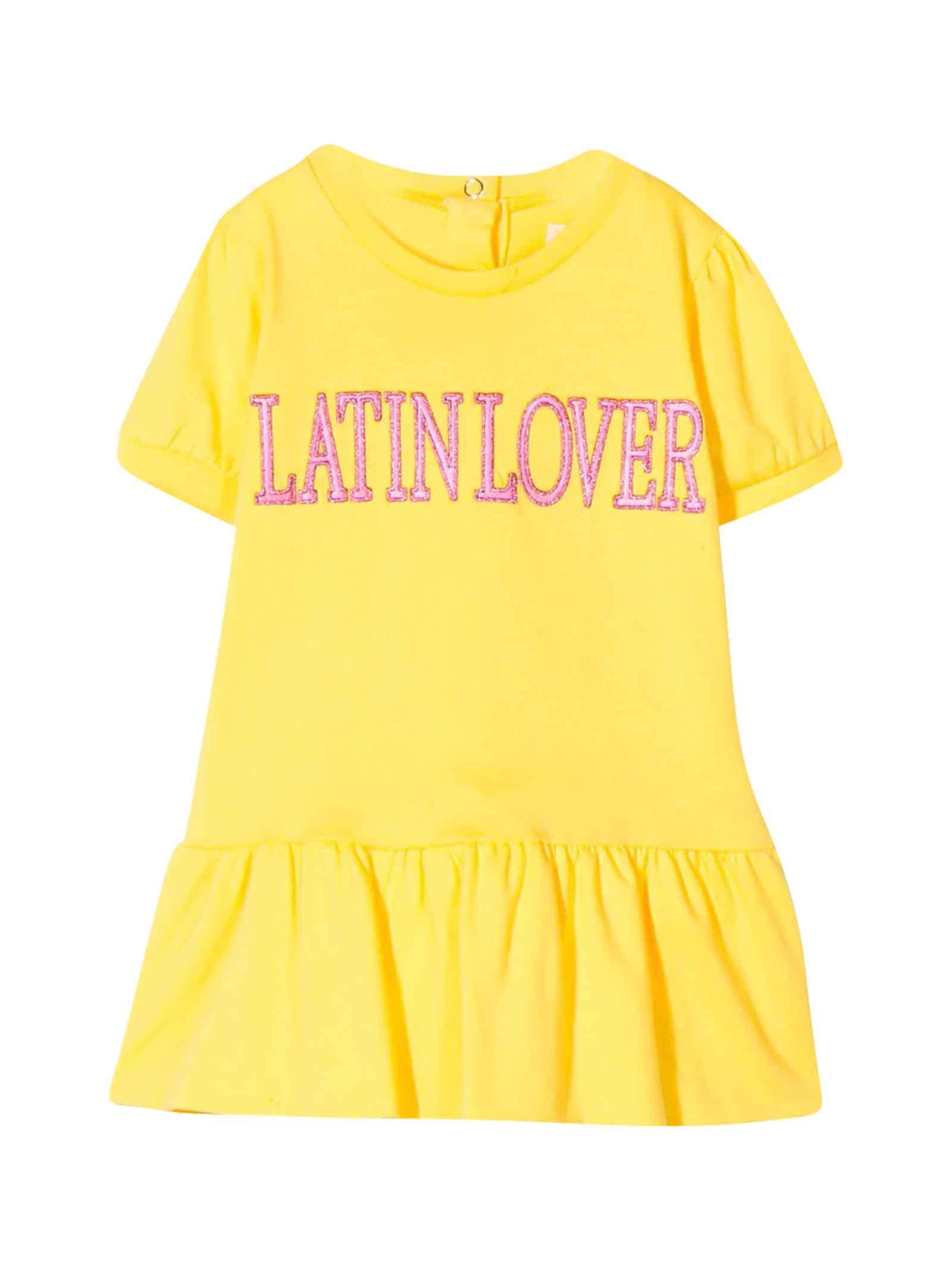 Buy Alberta Ferretti Yellow Dress With Press Alberta Ferretti online, shop Alberta Ferretti with free shipping