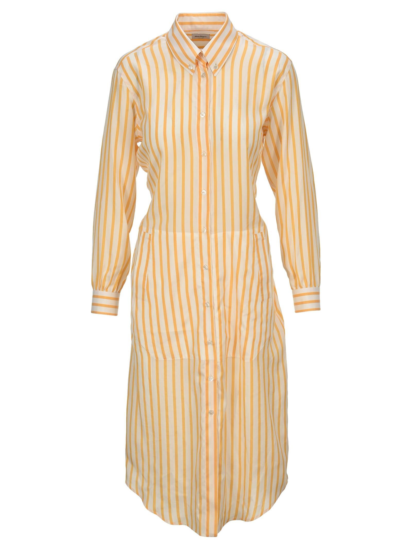 Buy Salvatore Ferragamo Striped Shirt Dress online, shop Salvatore Ferragamo with free shipping
