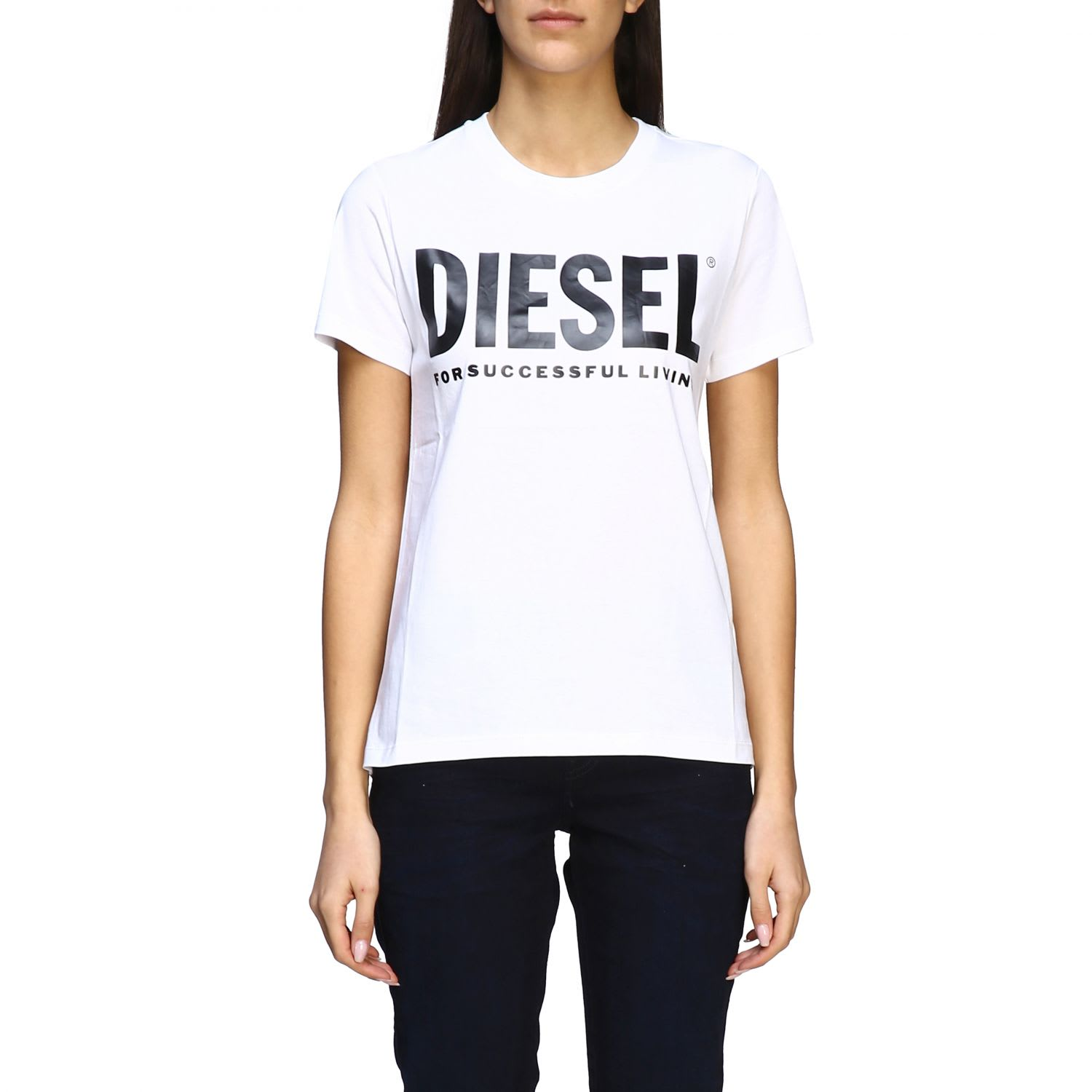 Diesel Short-sleeved T-shirt With Logo In White