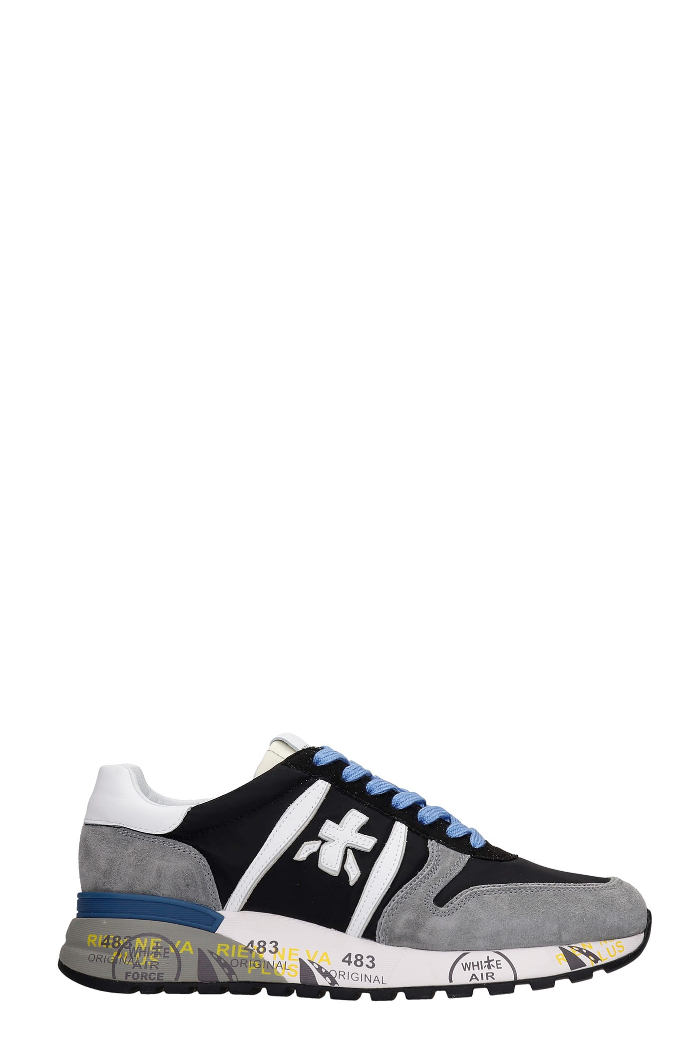 Premiata Sneakers LANDER SNEAKERS IN GREY SUEDE AND FABRIC