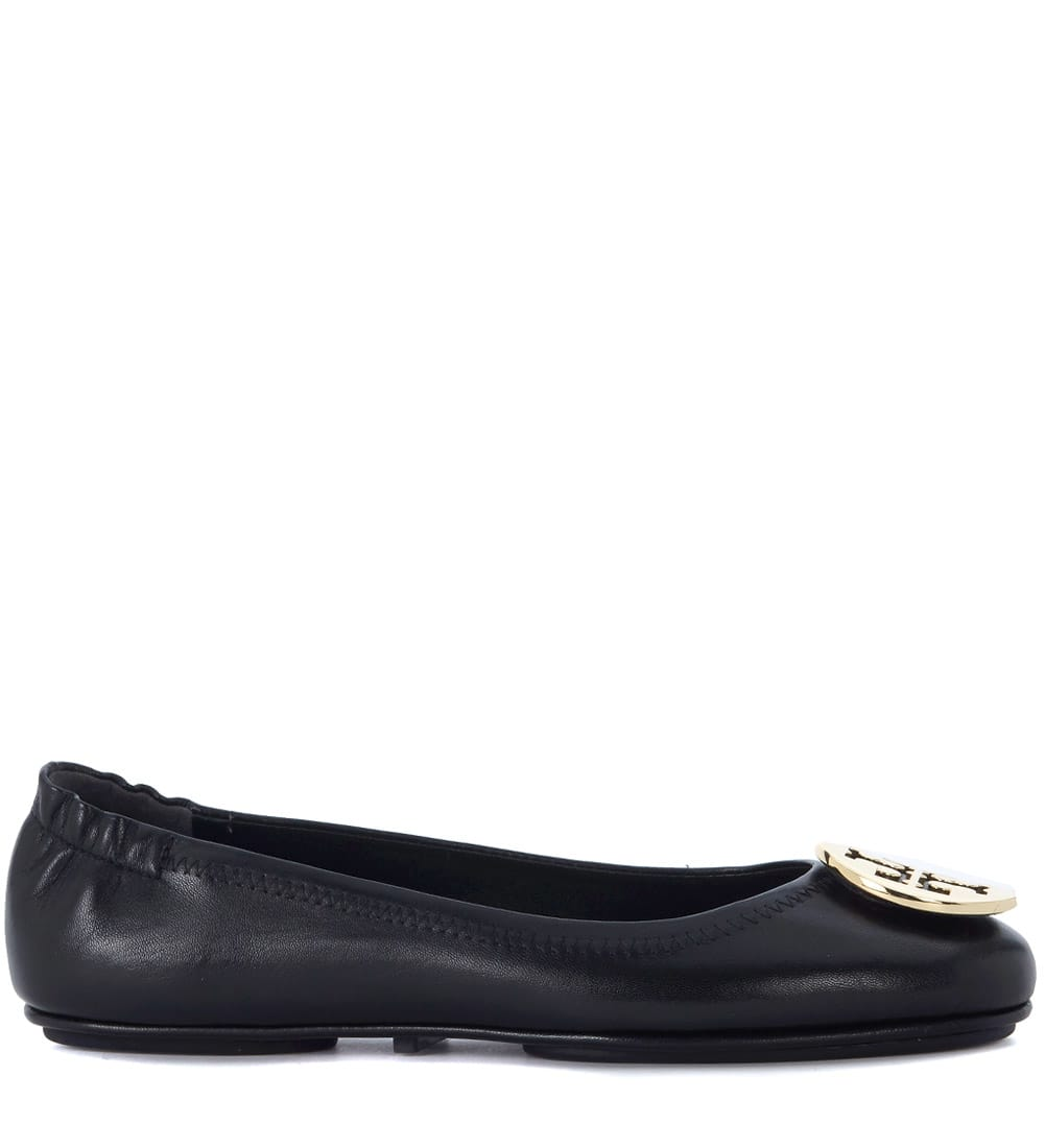 Buy Tory Burch Minnie Travel Black Nappa Leather Flat online, shop Tory Burch shoes with free shipping