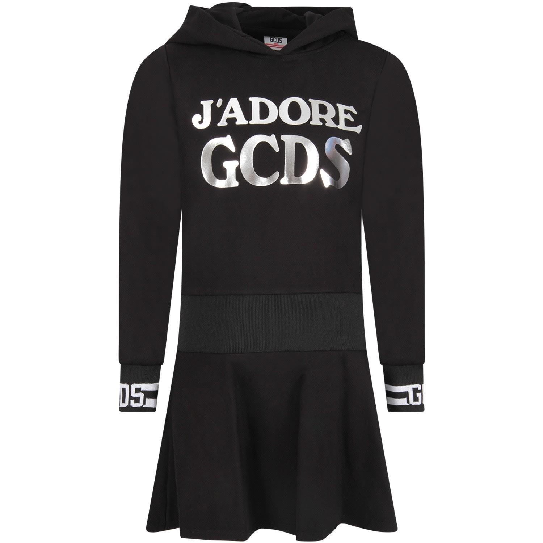 GCDS Mini Black Girl Dress With Silver Logo