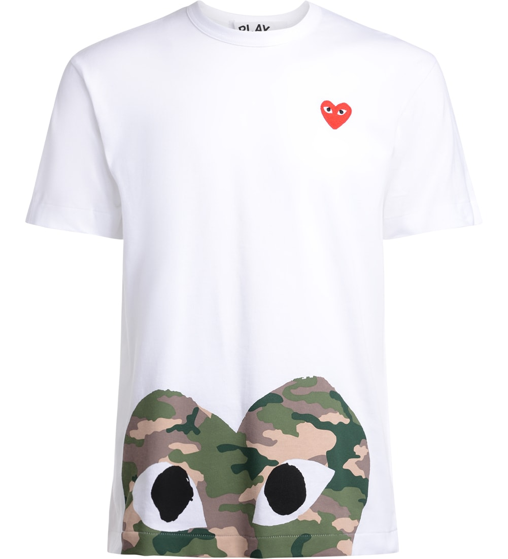 Comme Des Garçons Play Mens White T-shirt With Camouflage Heart