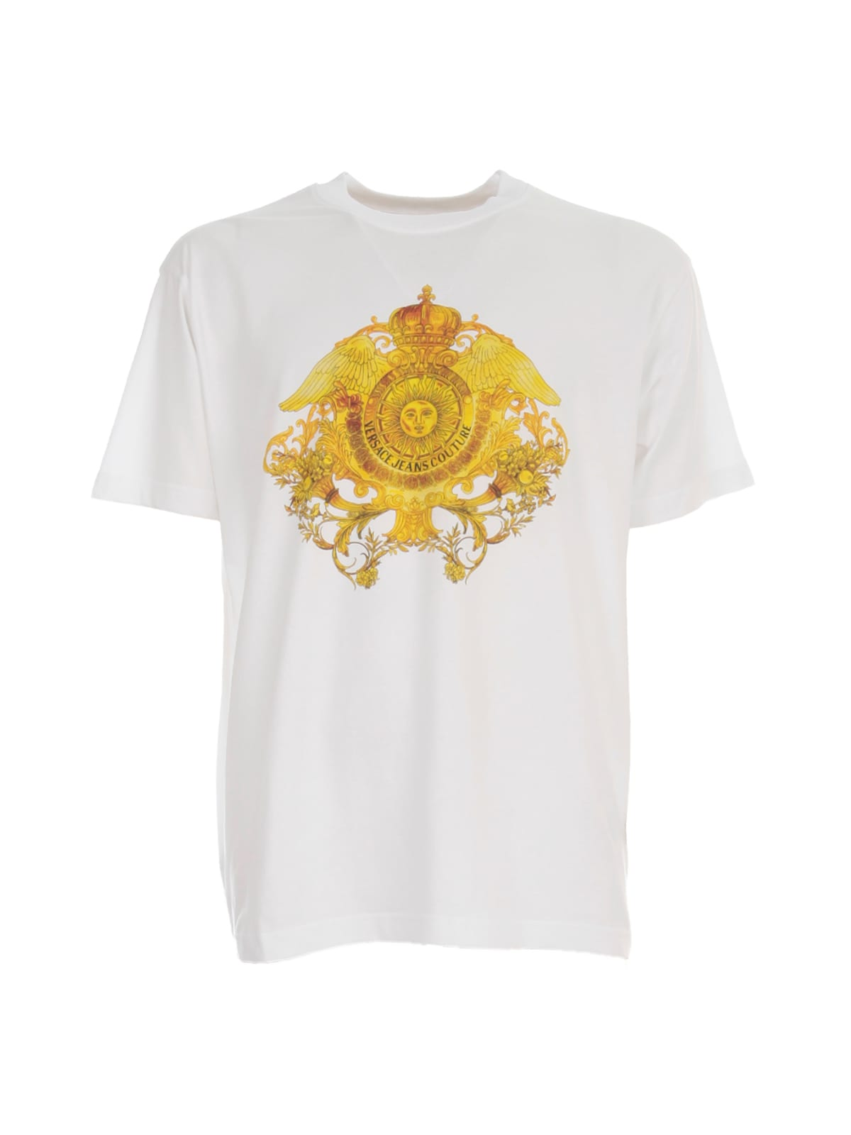 Versace Jeans Couture Printed T-shirt In Bianco Ottico