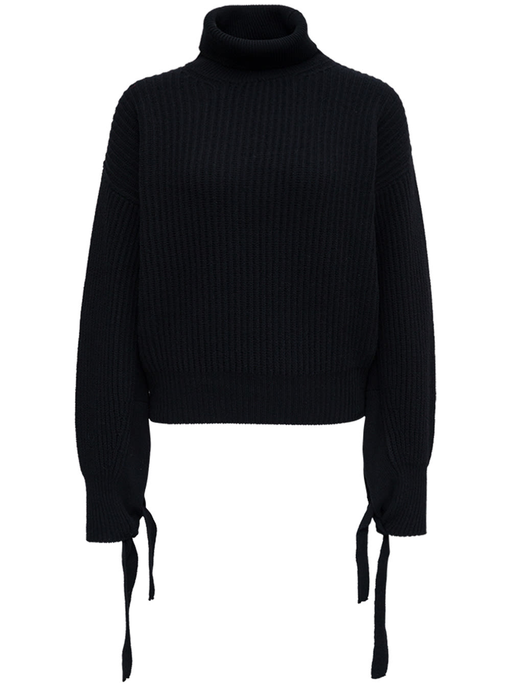 Black Wool Sweater With Bows
