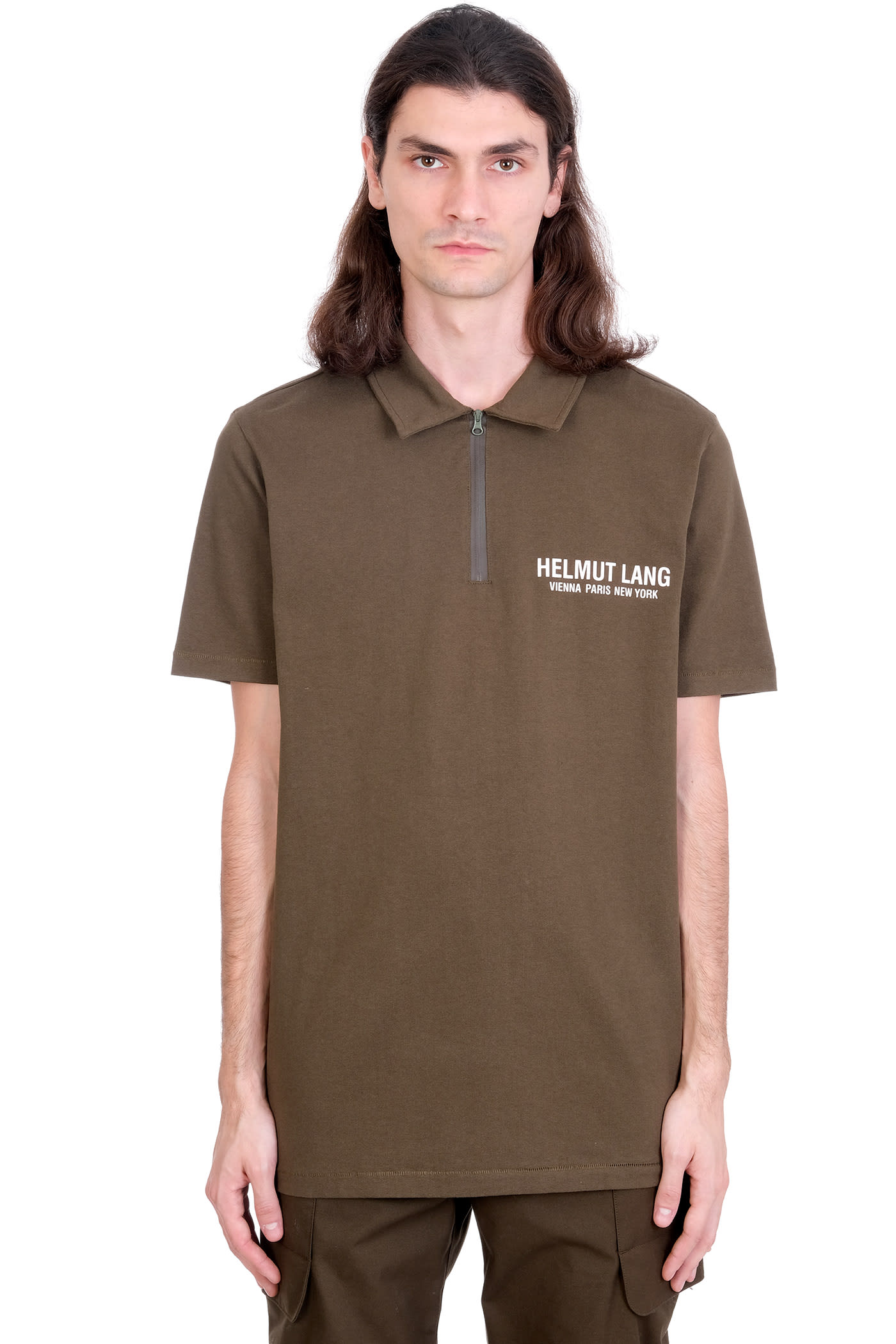 Helmut Lang Cottons POLO IN GREEN COTTON