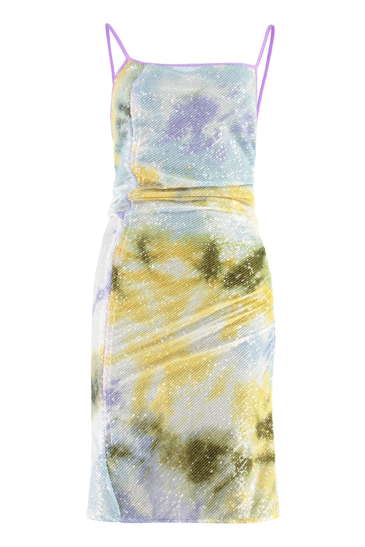 Gcds Draped Asymmetric Dress In Multicolor