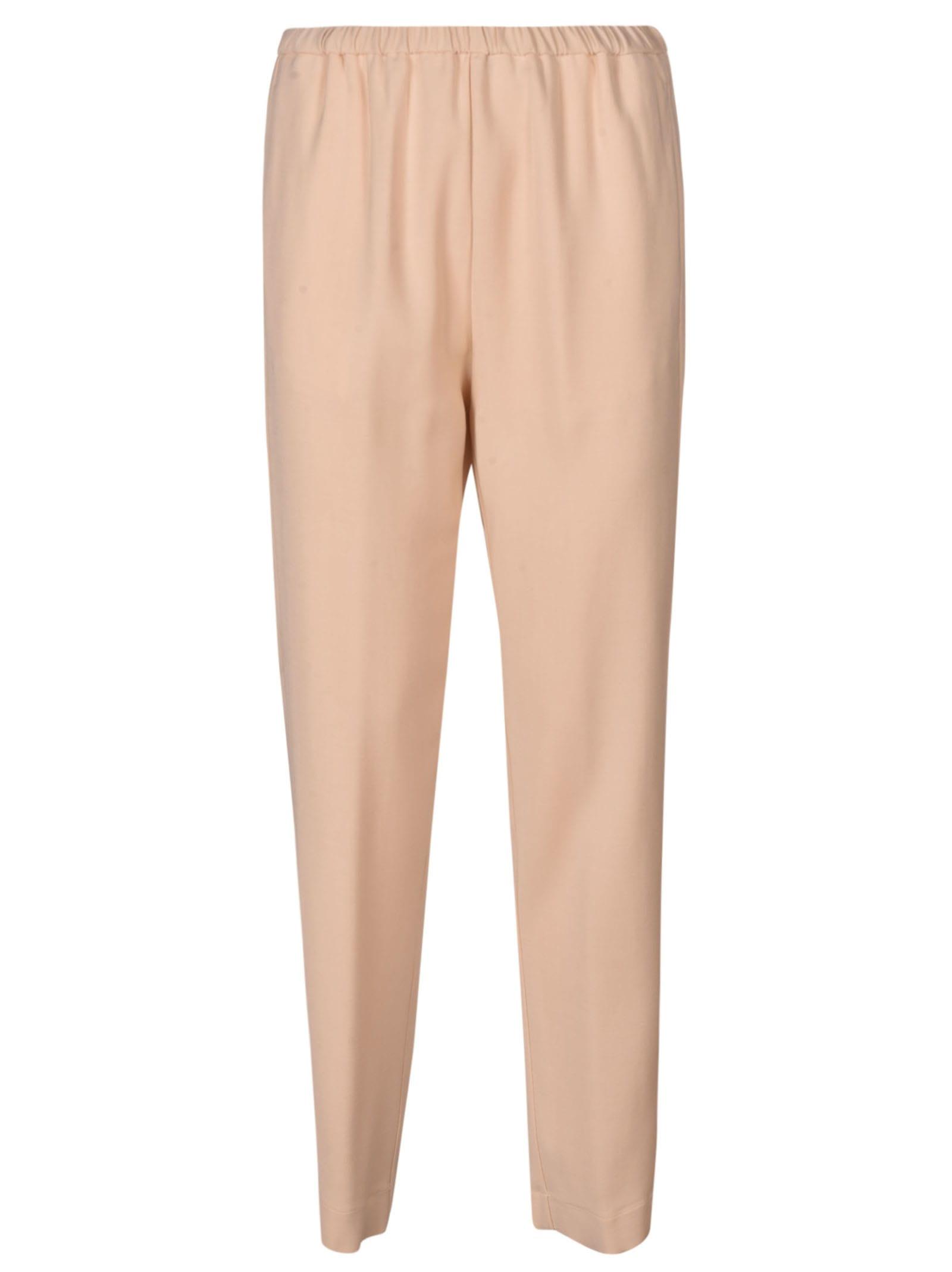 Forte Forte Elastic Waist Plain Trousers In Cream