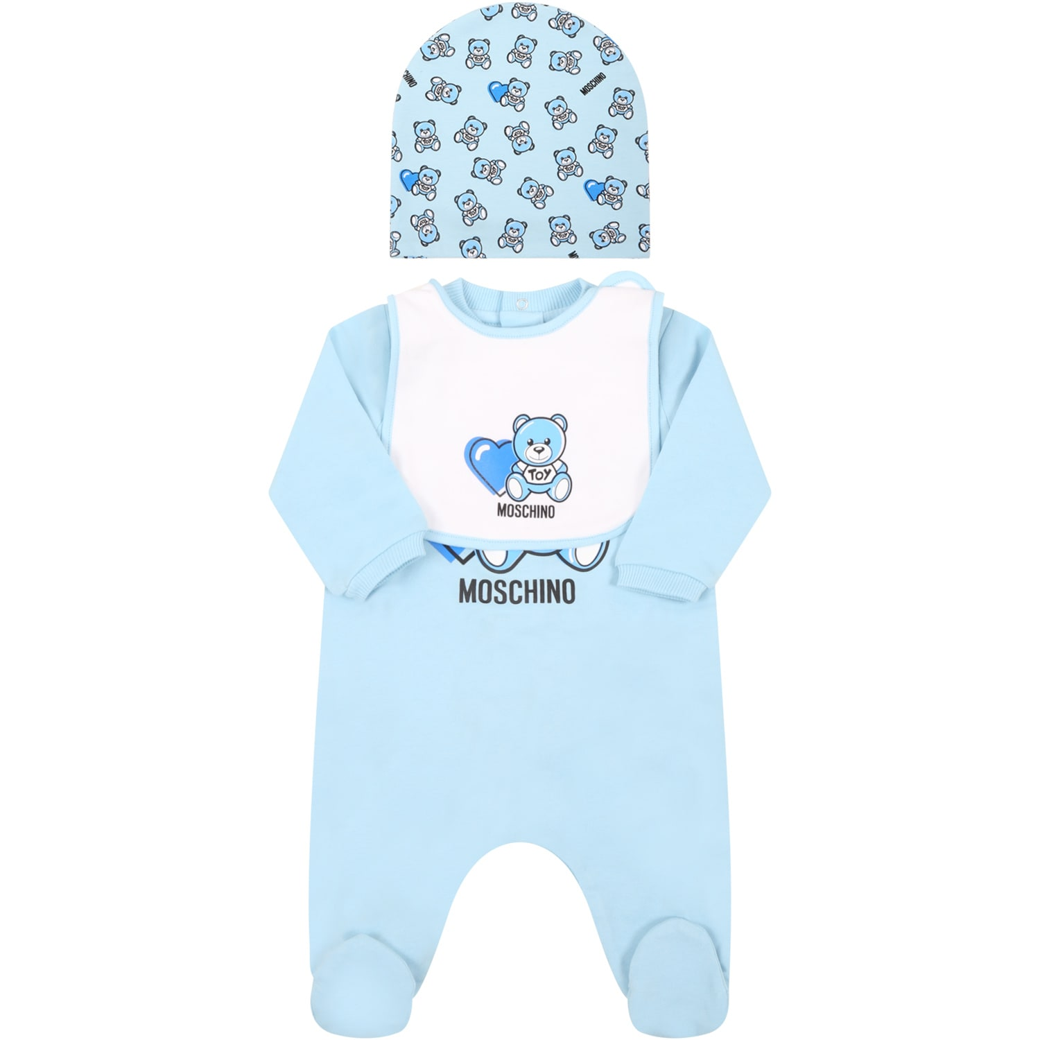 Moschino LIGHT BLUE SET FOR BABYBOY WITH TEDDY BEAR