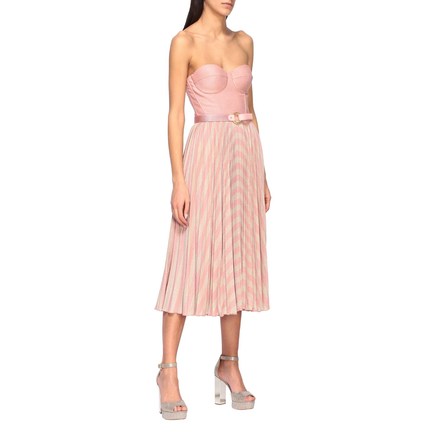 Elisabetta Franchi Dress Elisabetta Franchi Bodice Dress With Two-tone Lurex Effect Skirt