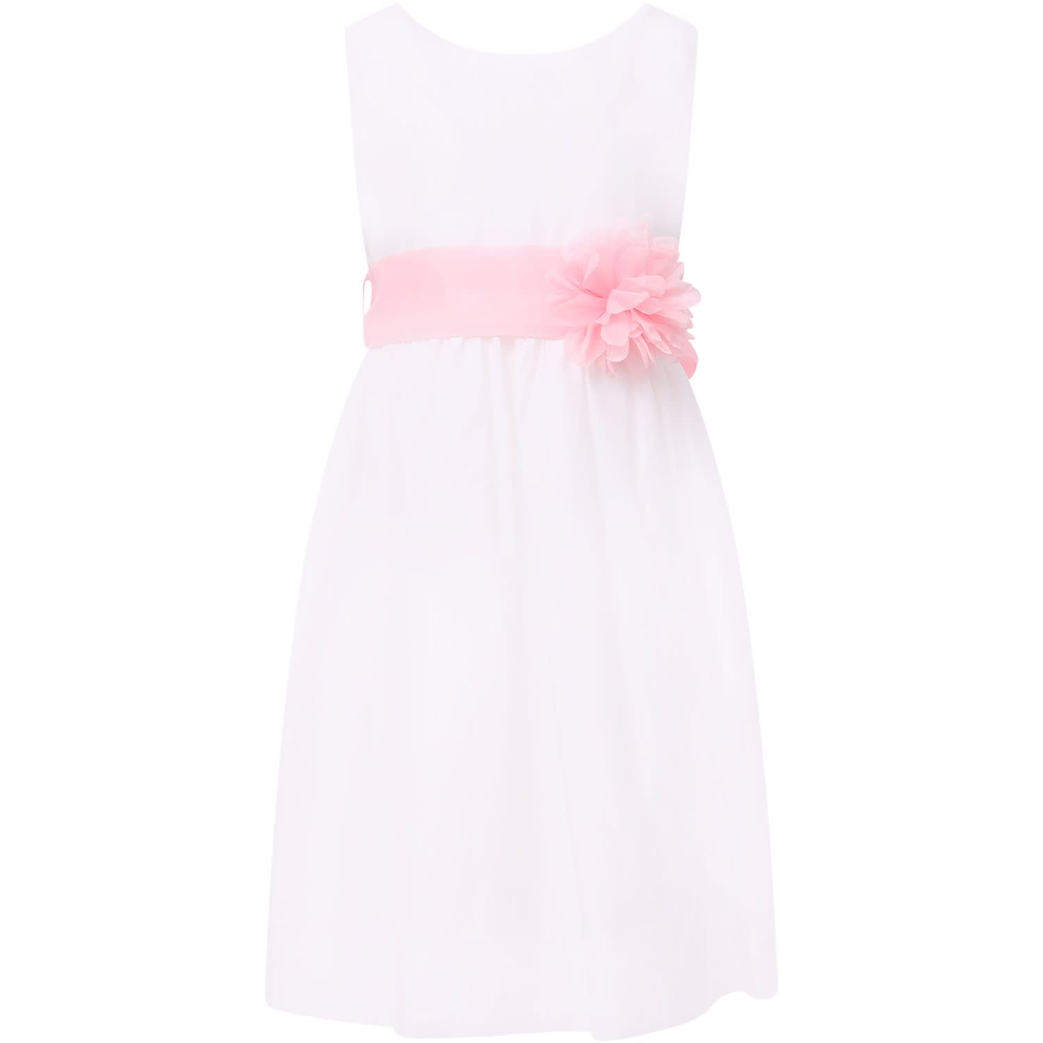 Little Bear White Girl Dress With Pink Tulle Flower