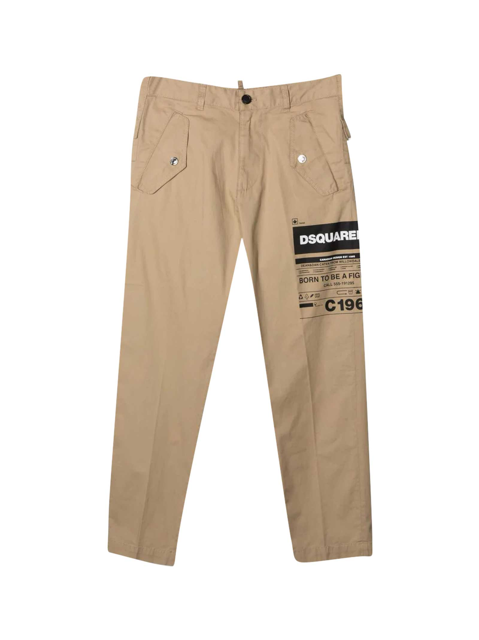 Dsquared2 Cottons BEIGE TROUSERS TEEN