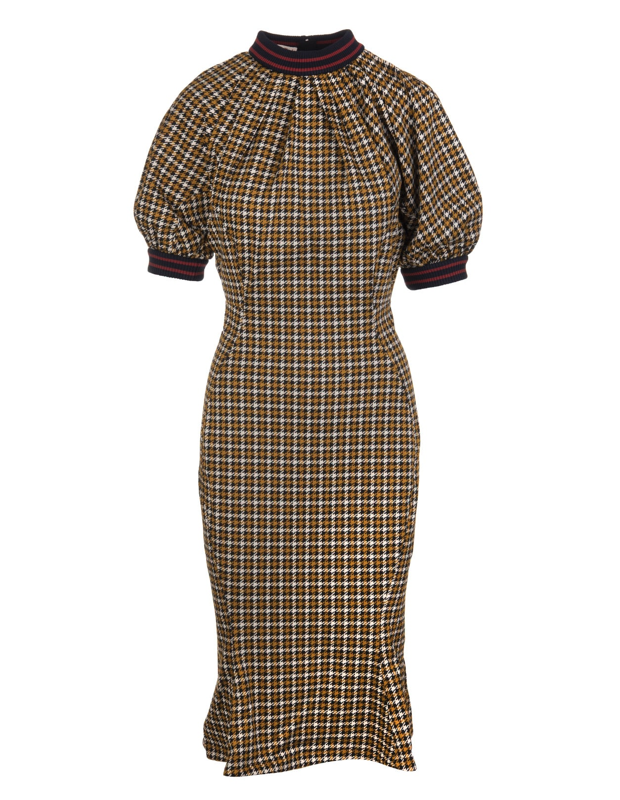 Buy Marni Mermaid Midi Dress With Black, Ivory And Camel Pied De Poule Pattern online, shop Marni with free shipping