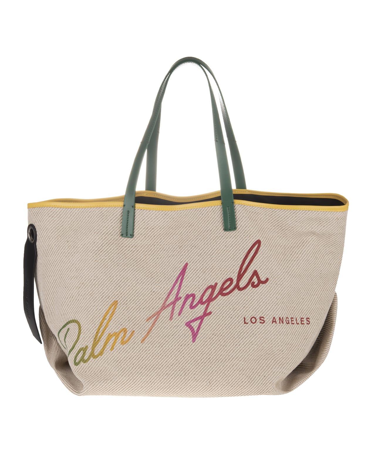 Palm Angels Beige Cabas Bag With Rainbow Logo