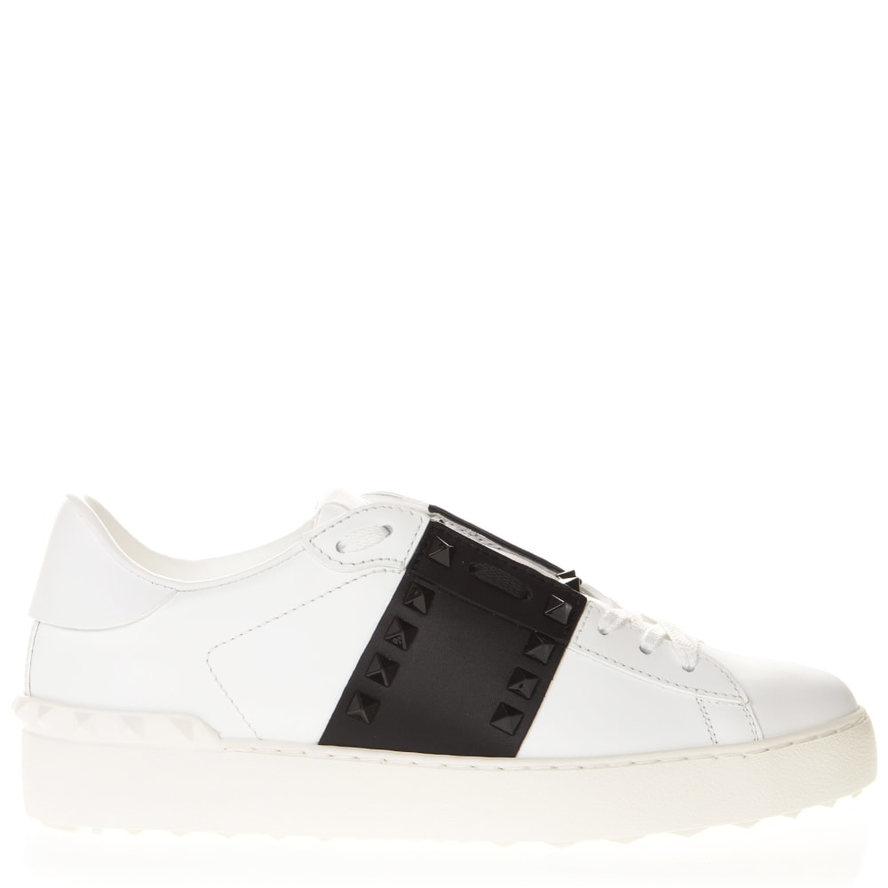 Valentino Garavani White & Black Leather Studs Sneaker
