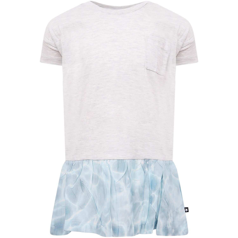 Molo Grey Girl Dress With Digital Pool Print