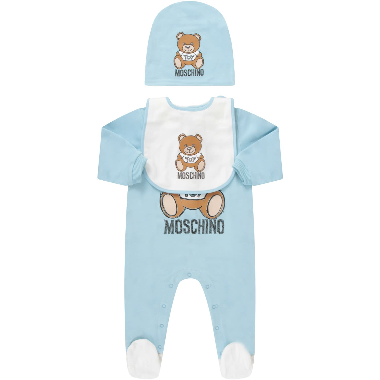 MOSCHINO LIGHT BLUE SET FOR BABYBOY WITH TEDDY BEAR