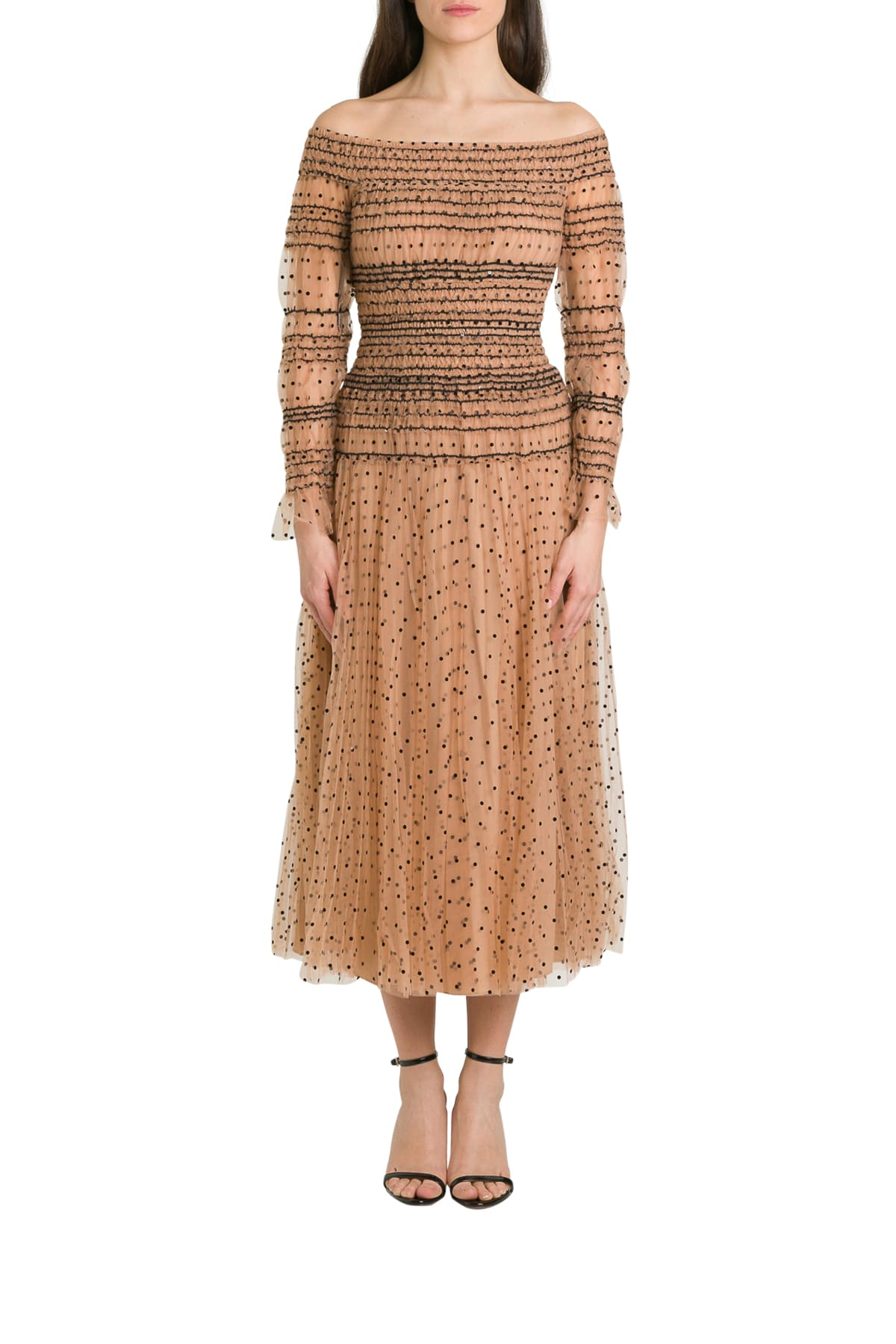 Buy self-portrait Polka Dots Midi Dress In Pleated Tulle online, shop self-portrait with free shipping
