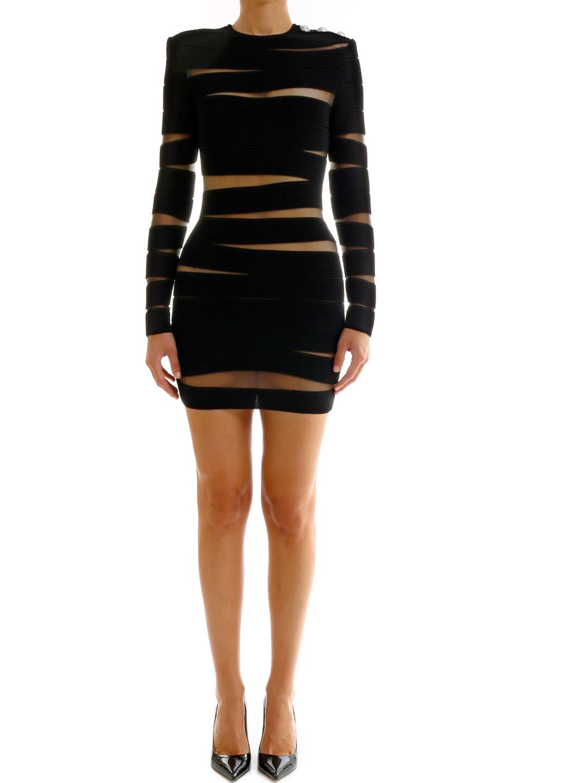 Balmain Black Dress Asymmetrical Bands