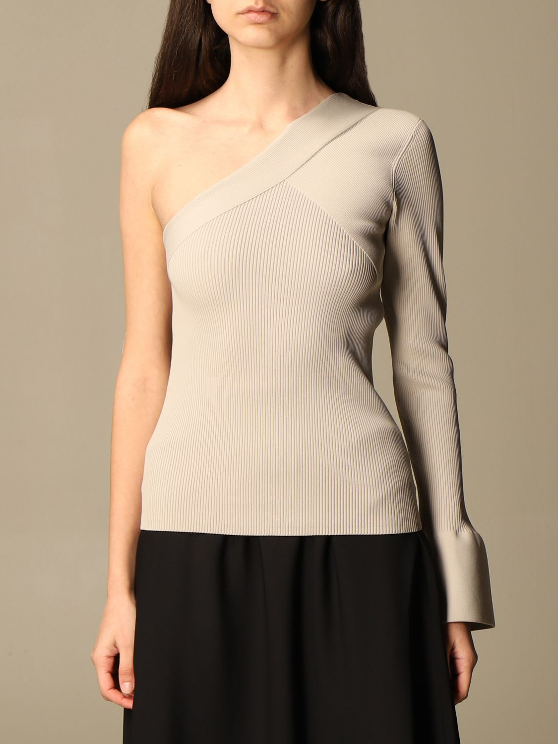 Theory Dress Stretch Ribbed Theory One-shoulder Sweater