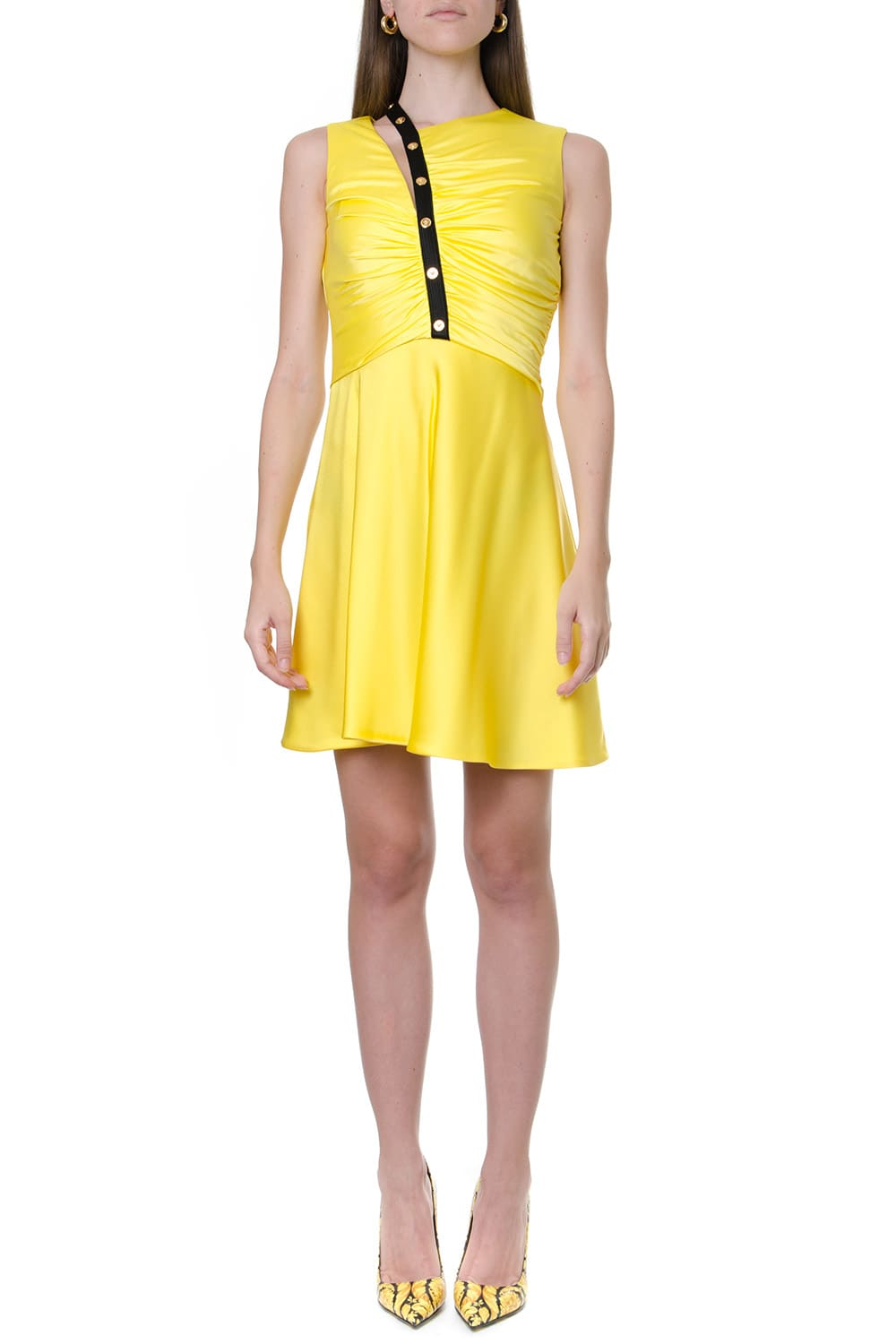 Versace Yellow Ruffled Dress