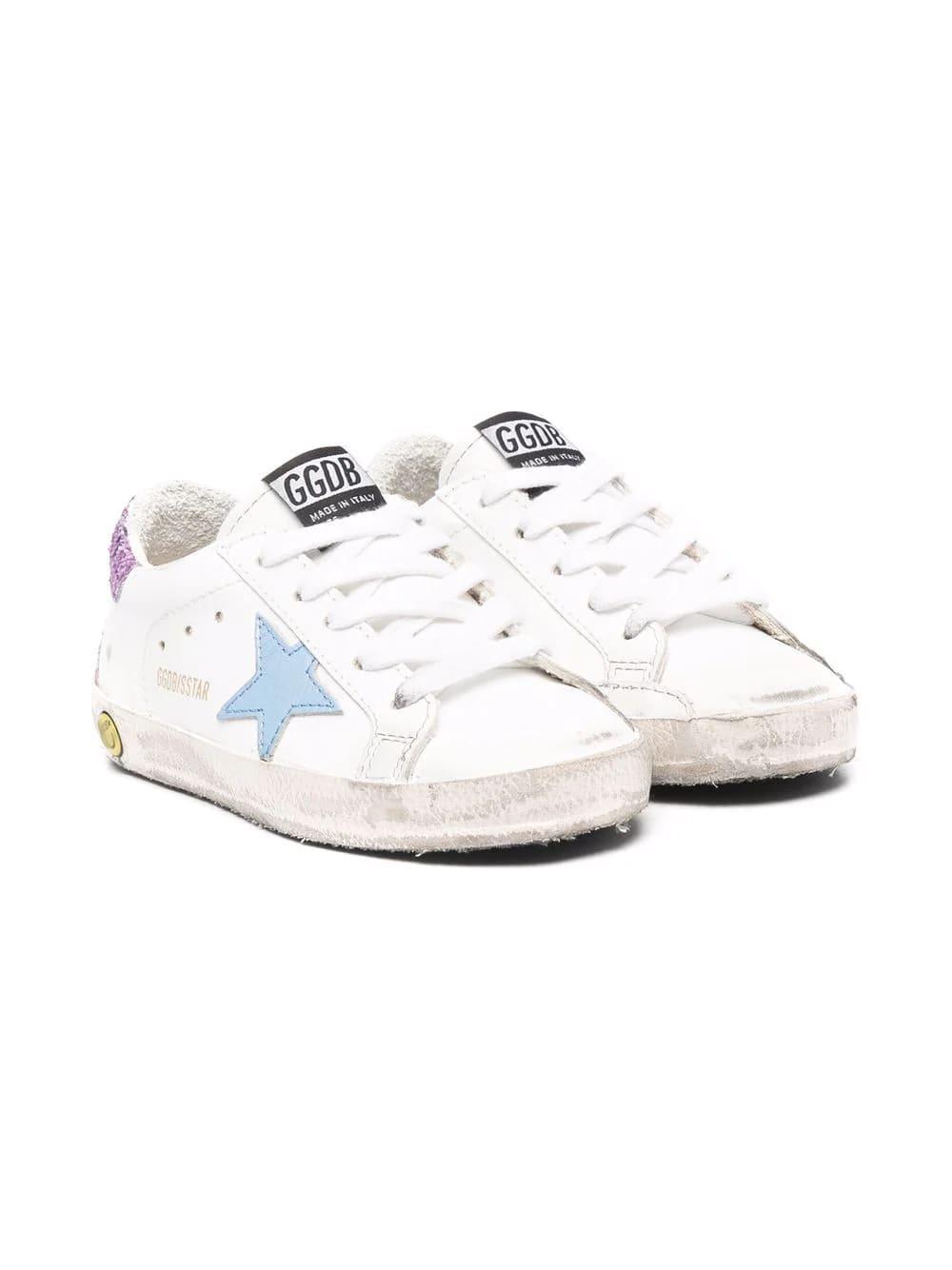 Golden Goose Kids White Super-star Sneakers With Light Blue Star And Purple Glitter Spoiler