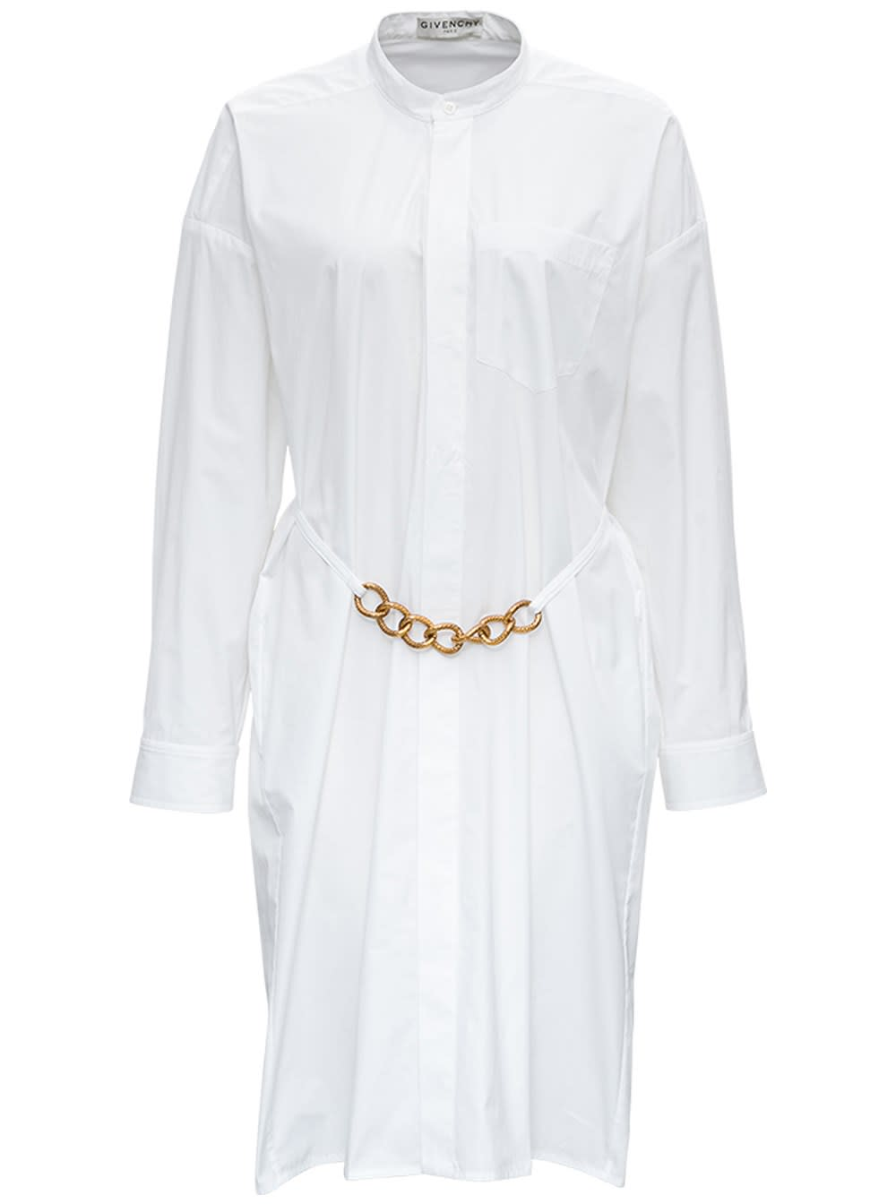 Givenchy White Cotton Dress With Chain Belt Detail