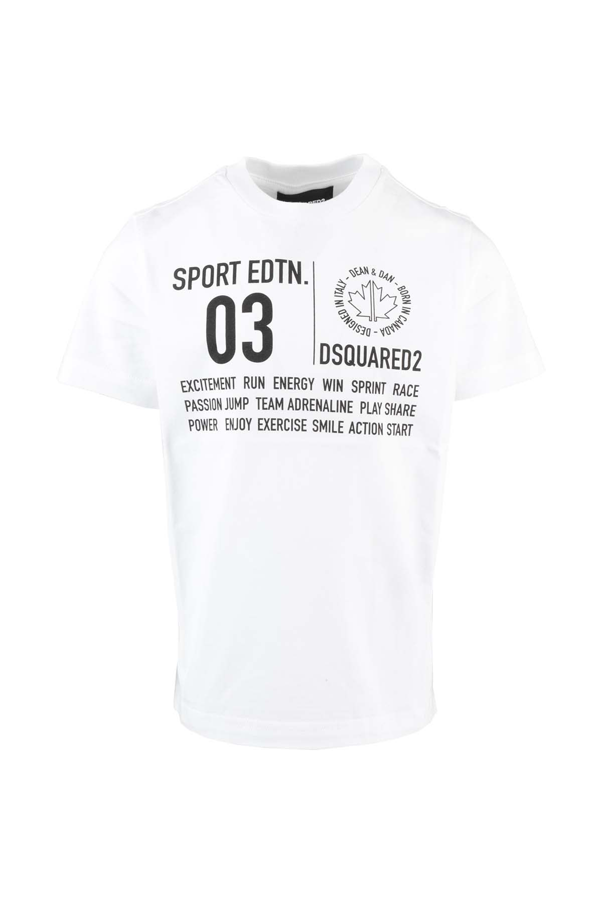 Dsquared2 Kids' Jersey T-shirt In Bianco