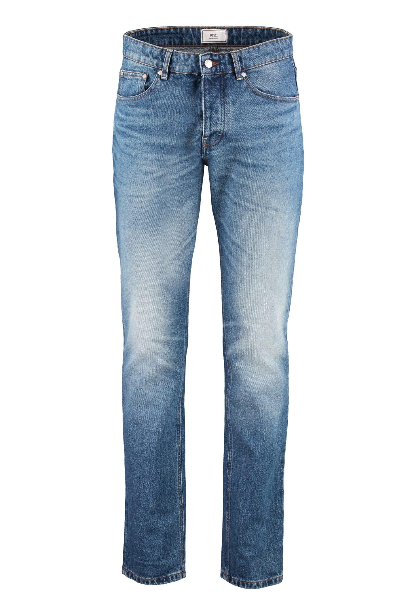 Ami Alexandre Mattiussi 5-pocket Straight-leg Jeans In Denim