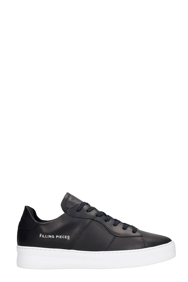 Plain Court Sneakers In Black Leather