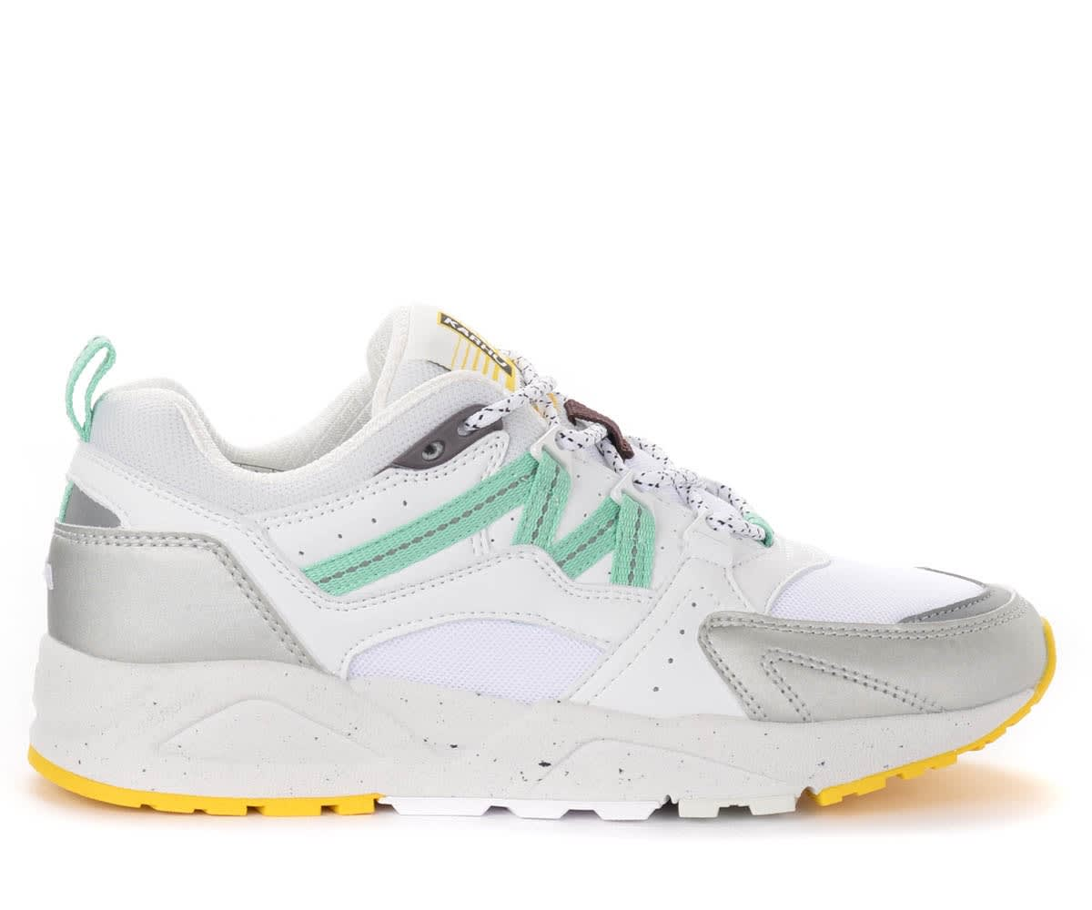 Fusion 2.0 Sneakers In White And Silver Leather And Fabric