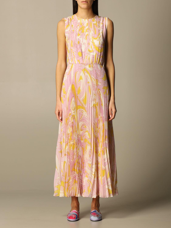 Buy Emilio Pucci Dress Emilio Pucci Midi Dress In Pleated Silk online, shop Emilio Pucci with free shipping