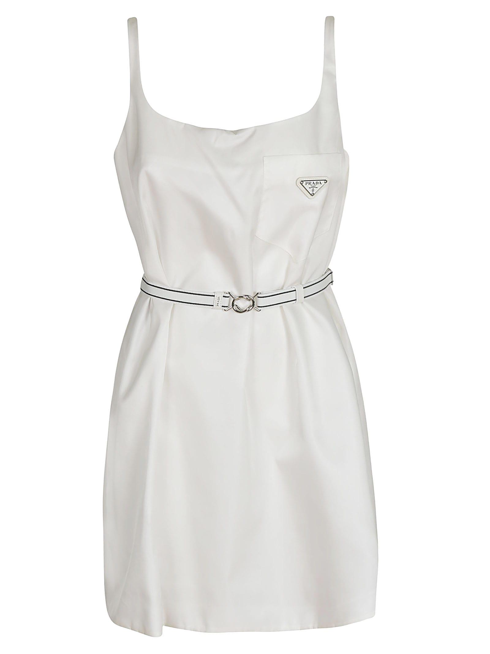 Prada Logo Plaque Belted Dress