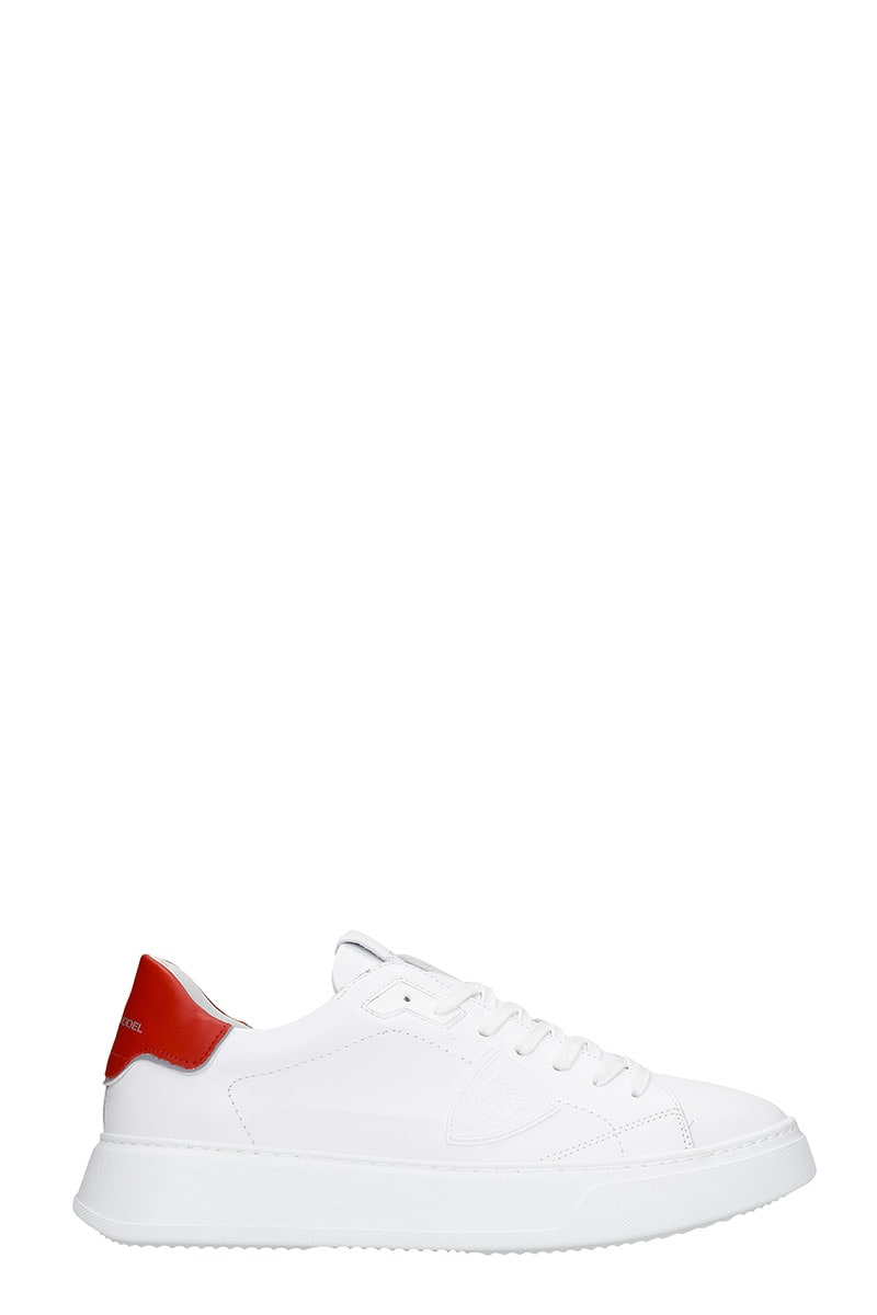 Philippe Model Temple L Sneakers In White Leather