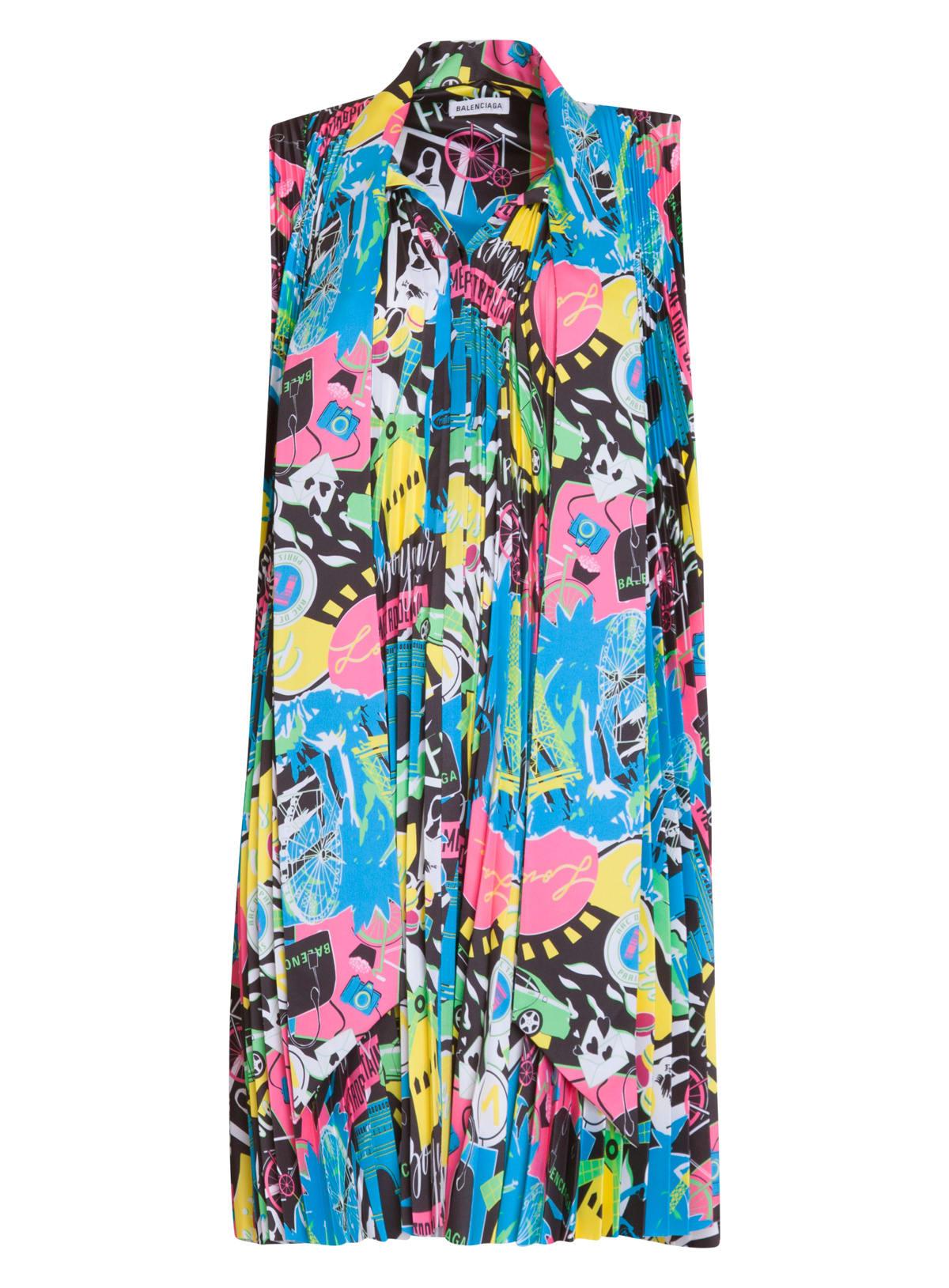 Buy Balenciaga Multicolored Pleated Dress online, shop Balenciaga with free shipping