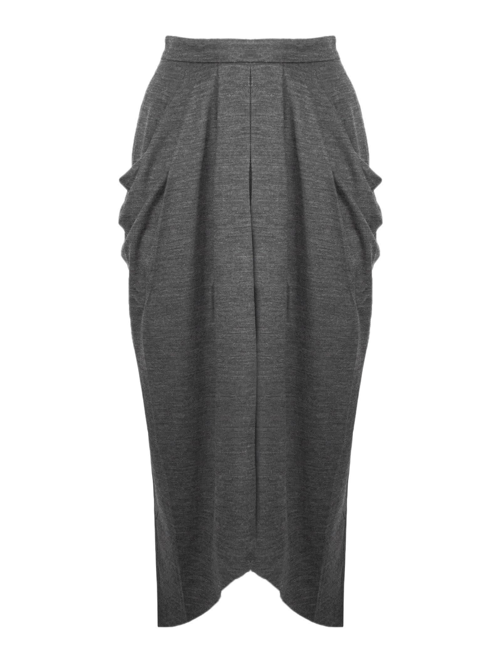 Isabel Marant Anthracite Grey Virgin Wool Skirt In Grigio