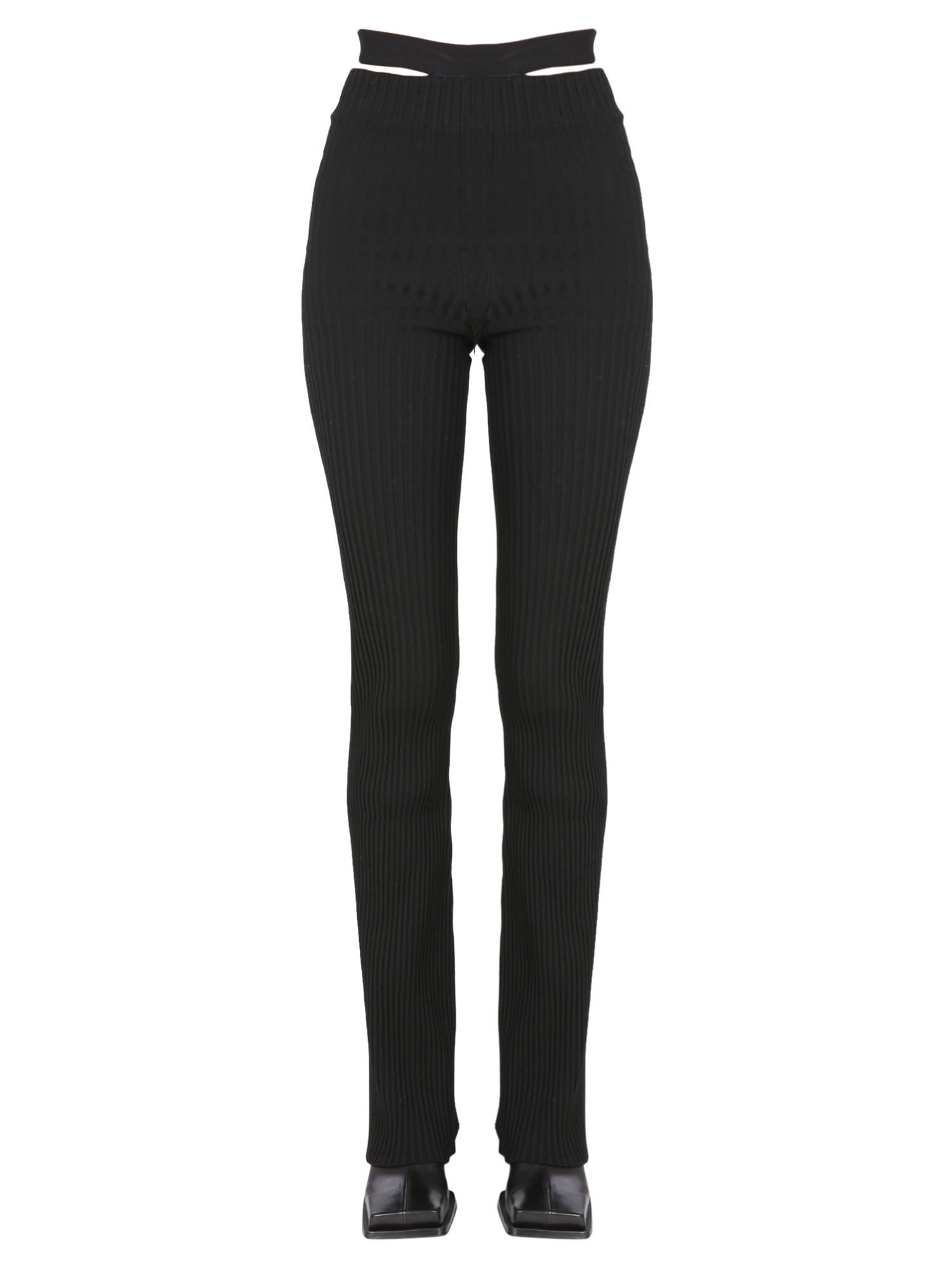 Ribbed Trousers With Cut Out Belt