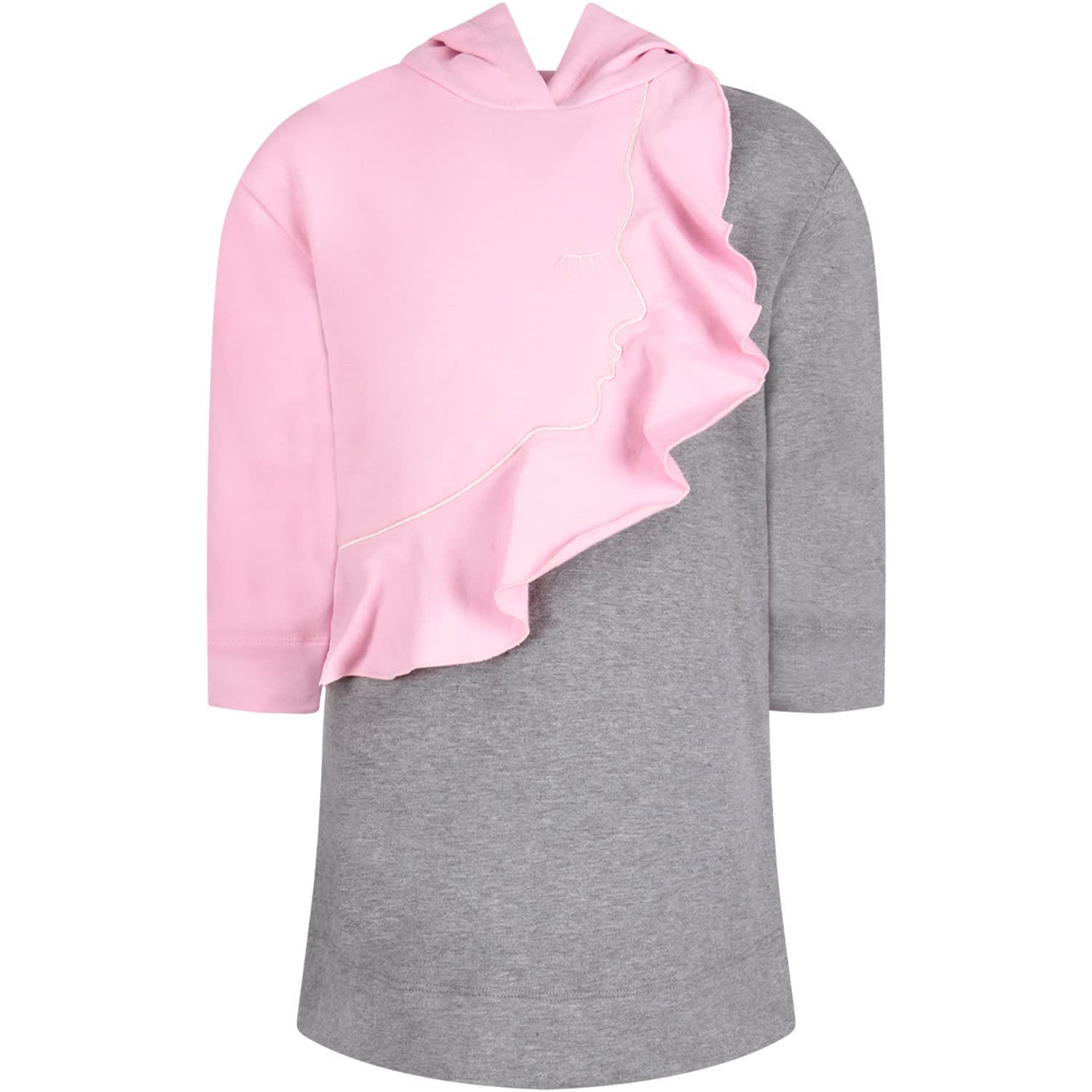 Vivetta Grey And Pink Girl Dress With Iconic Face