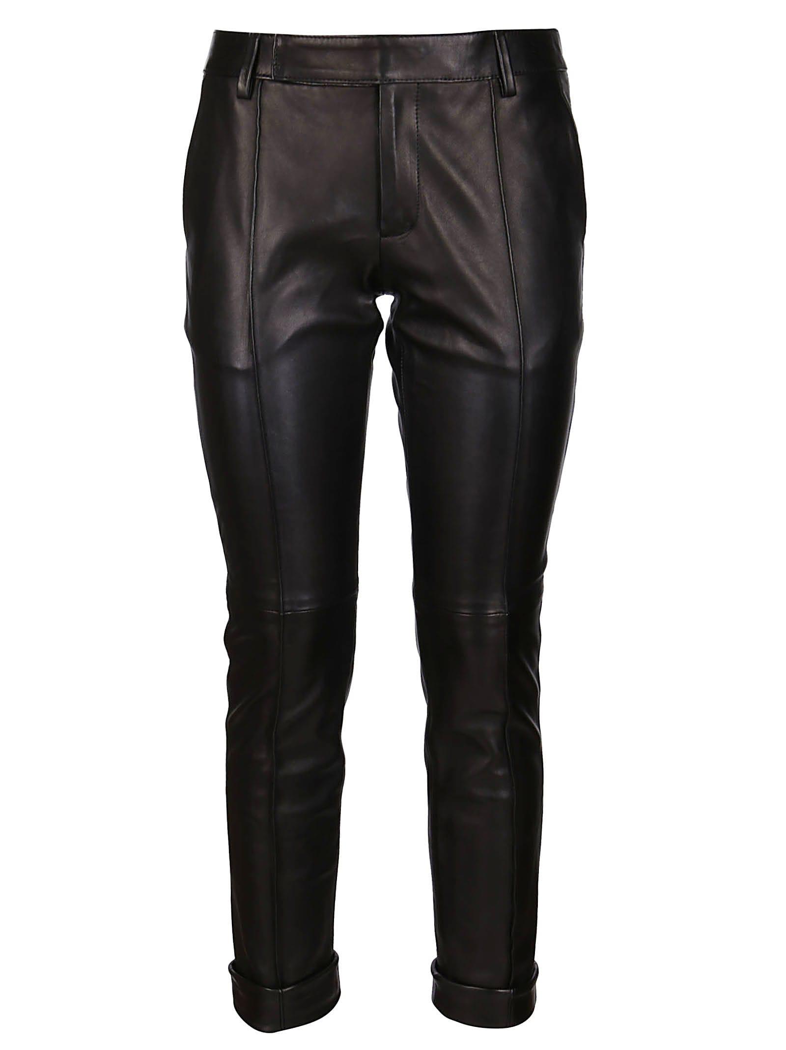 Golden Goose Black Leather Agathe Pant