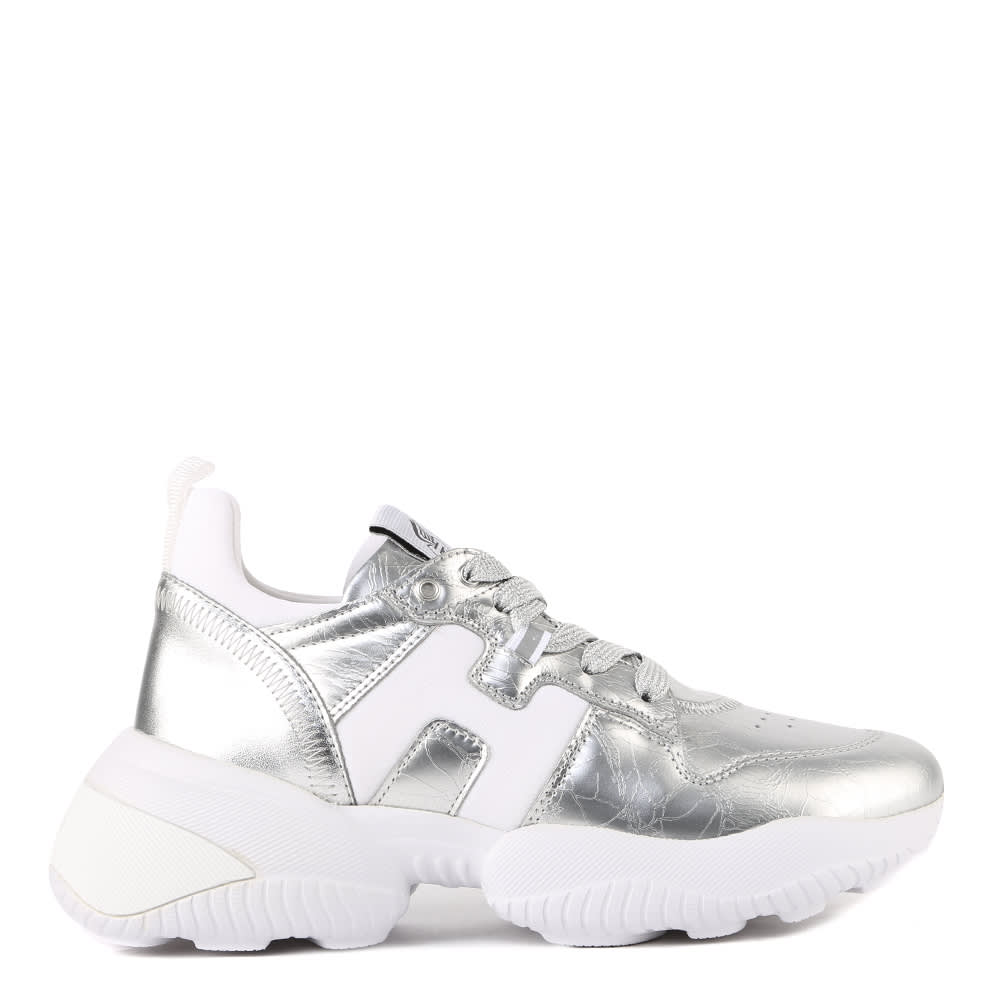 Hogan Interaction Sneakers In Leather And Scuba Fabric