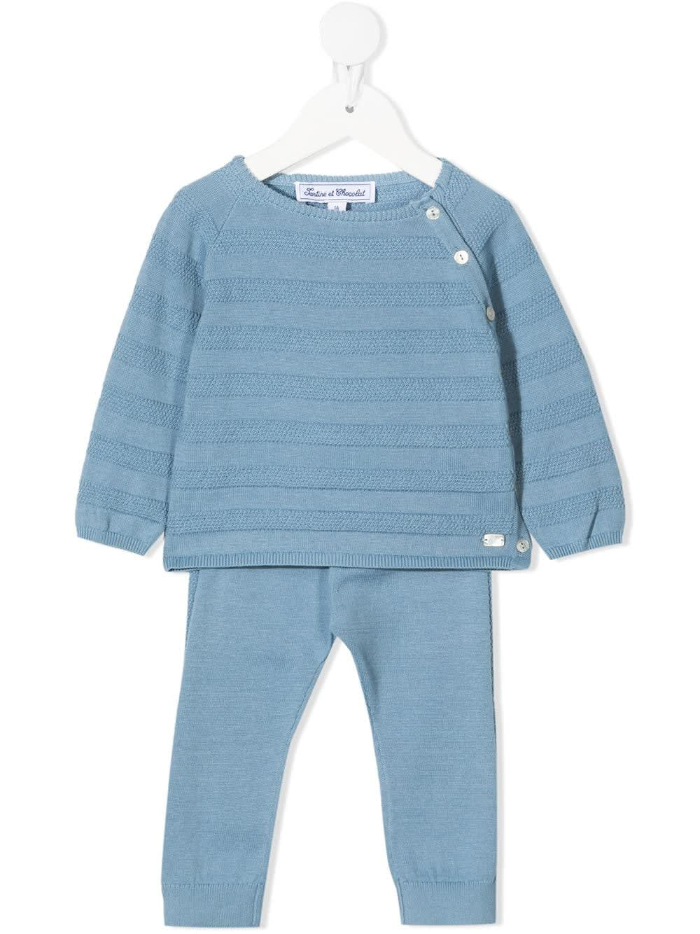 Tartine Et Chocolat Tracksuits COORDINATED LIGHT BLUE COTTON SWEATER AND TROUSERS SUIT
