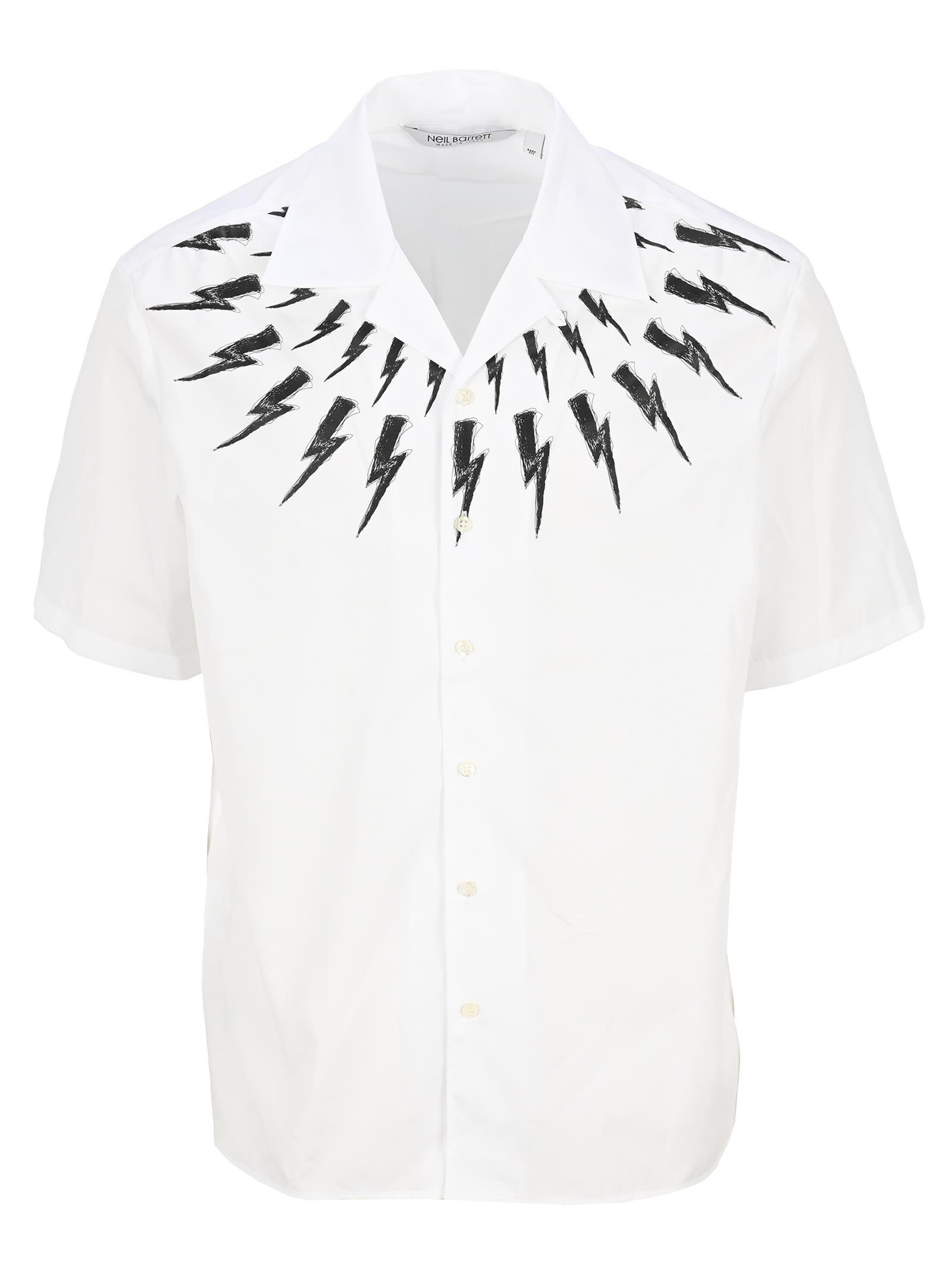 Neil Barrett Shirts FAIR-ISLE THUNDERBOLT HAWAIIAN SHIRT