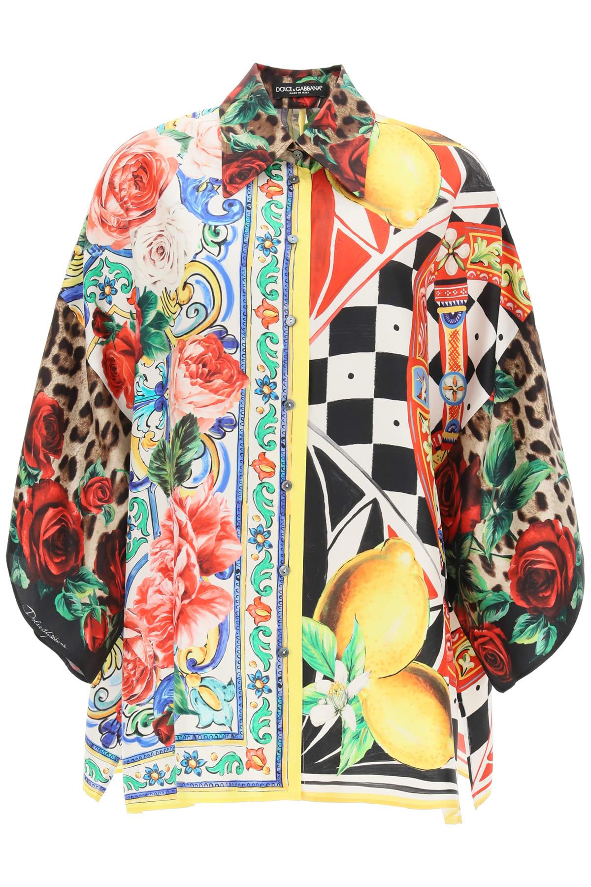 Dolce & Gabbana PATCHWORK PRINT TWILL SHIRT