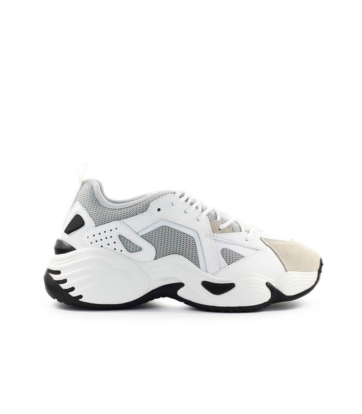 Emporio Armani White Grey Mesh Suede Chunky Sneaker